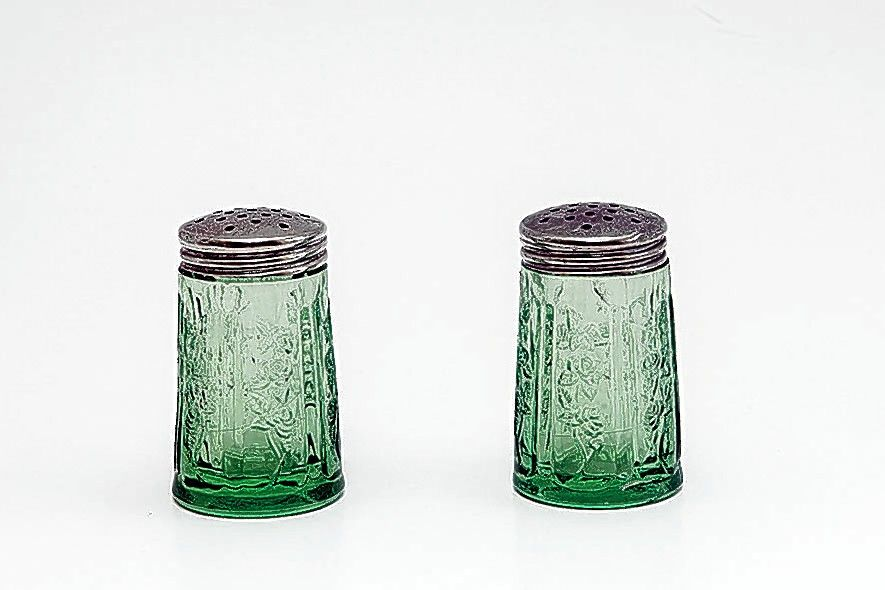 This Depression glass salt and pepper shaker set would sell for around $12.