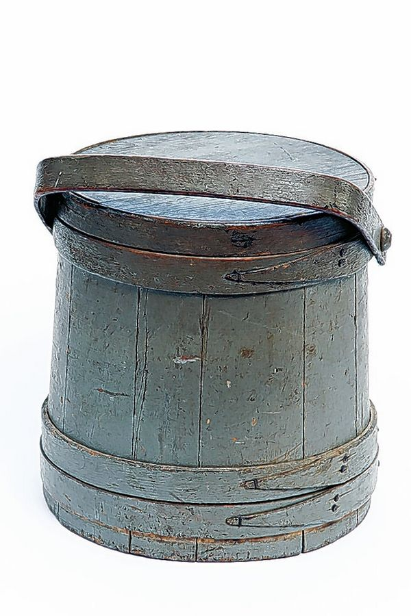 A prime example with its craftsmanship, condition and desirable color, this firkin would sell for about $260.