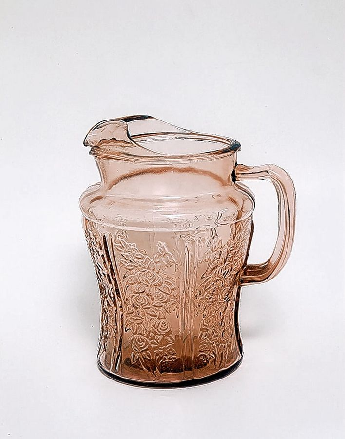 This Depression glass pitcher would command about $30.
