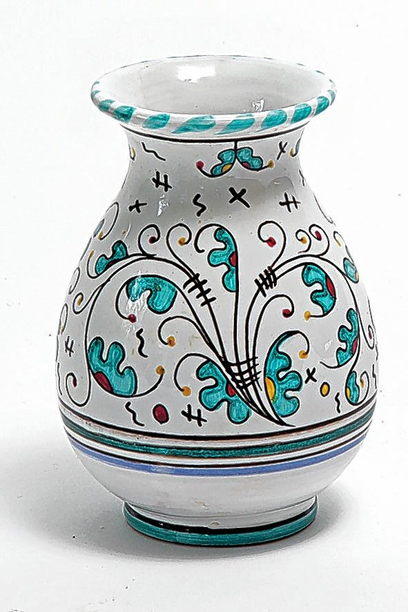 Deruta ceramics originated in southern Italy and are still being made today. You'll spot them in flea markets. The vase, pictured here, and pitcher Deruta ceramics originated in southern Italy and are still being made today. You'll spot them in flea markets. The pitcher, here, and vase are recent versions and are valued at around $18. Deruta ceramics originated in southern Italy and are still being made today. You'll spot them in flea markets. The pitcher, here, and vase are recent versions and are valued at around $18. are recent versions and are valued at around $18.