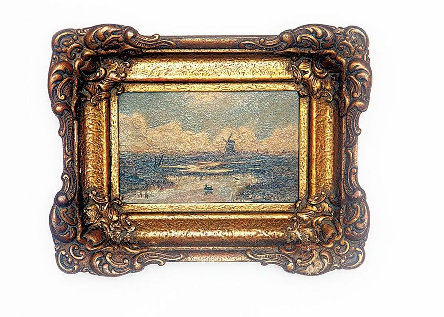 This miniature seascape is valued at about $350, partly because of its period frame in excellent condition.