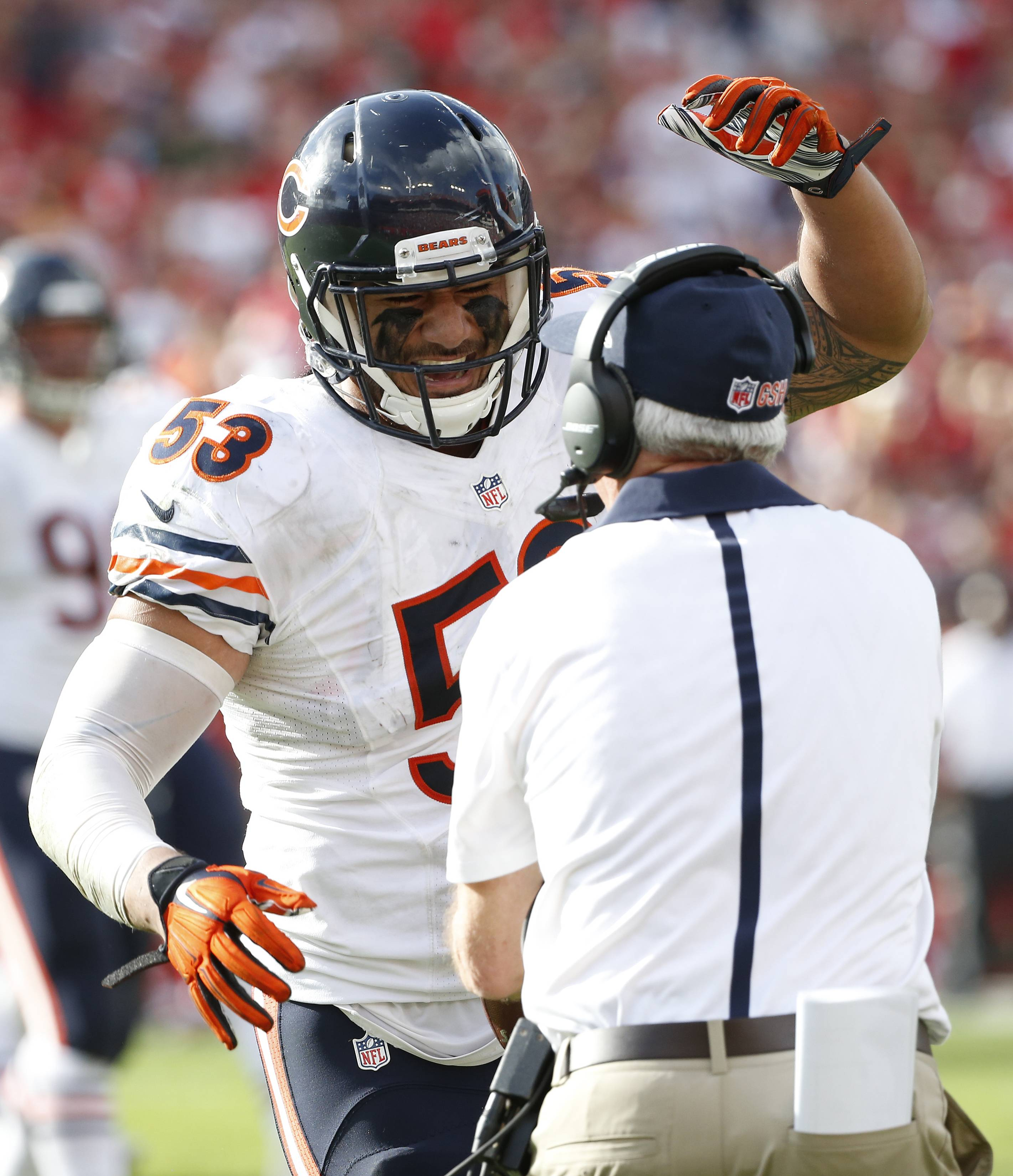 Bears linebacker John Timu celebrates with head coach John Fox after recovering a fumble by Buccaneers running back Doug Martin during the third quarter of Sunday's game in Tampa.