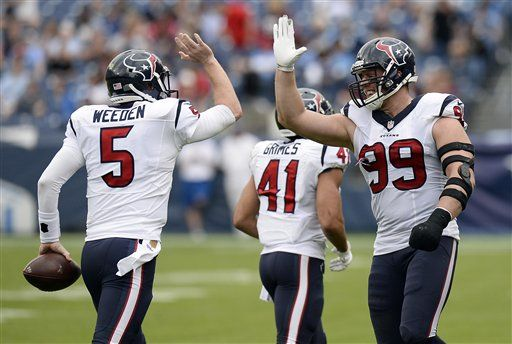 Weeden runs for TD, throws 2 more as Texans rout Titans 34-6