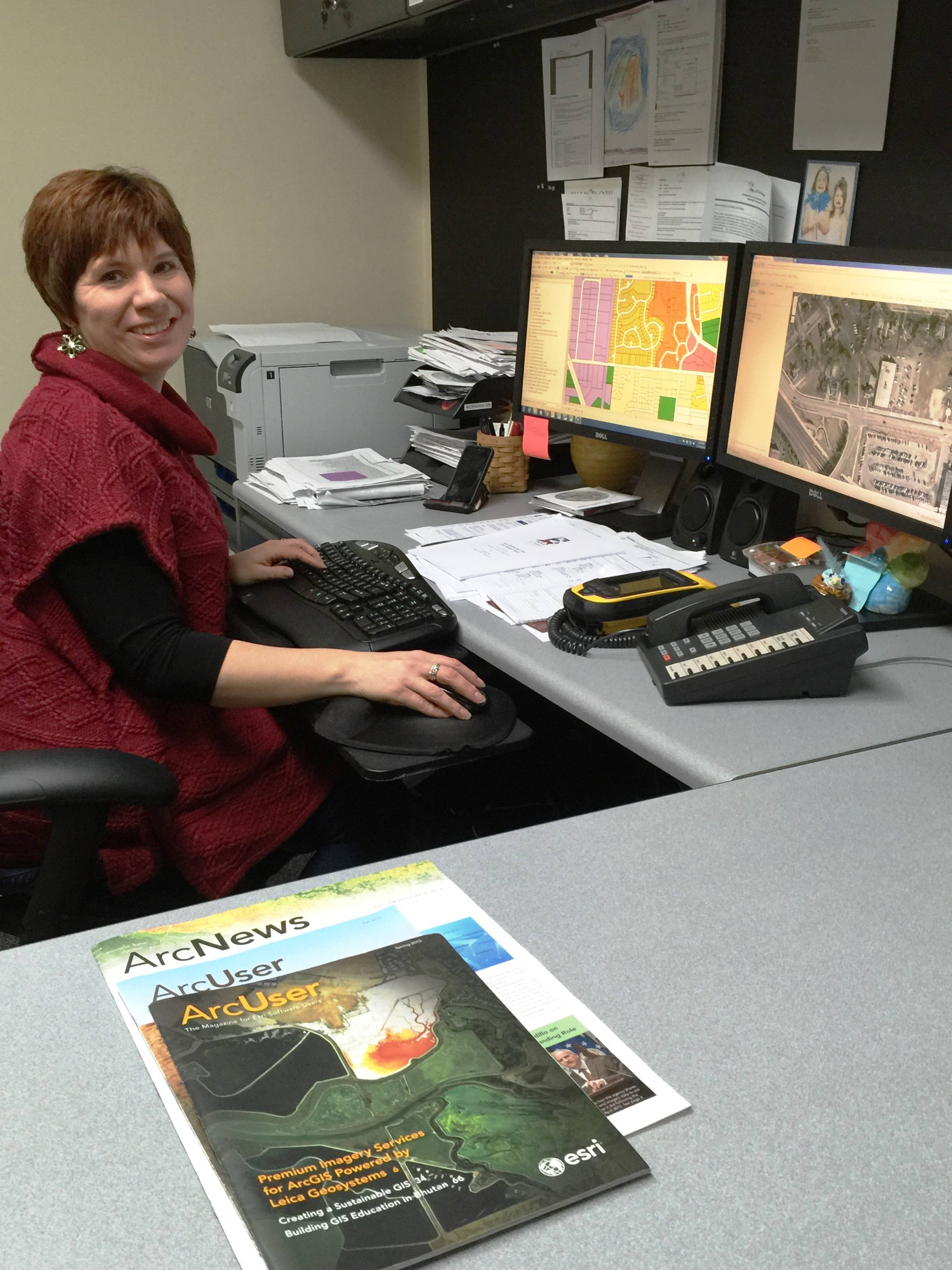 GIS Coordinator Vicki Hynes at work in West ChicagoRosemary Mackey