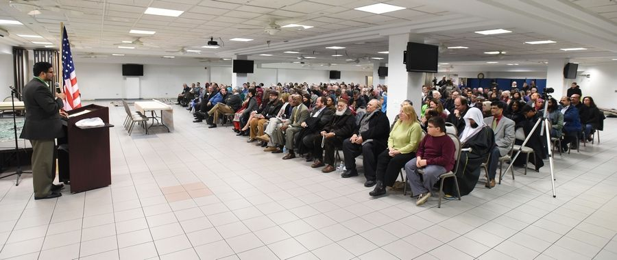 Azam Nizamuddin, co-chairman of the interfaith committee, helped organize a rally calling for unity and solidarity Friday at the Islamic Foundation in Villa Park.