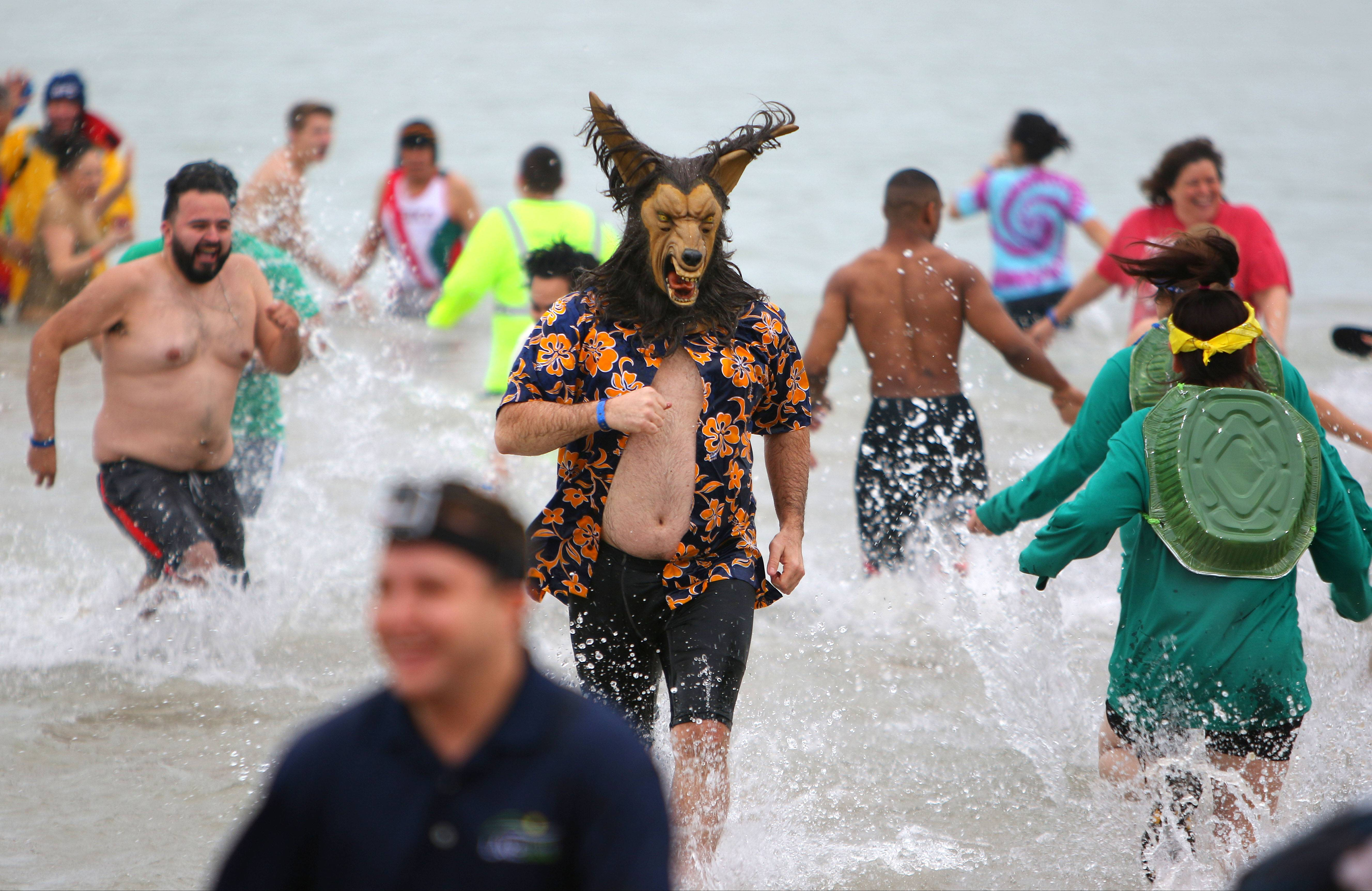 People dressed in costumes brave the cold waters of Lake Michigan during the 17th Annual Polar Bear Plunge Friday in Waukegan.
