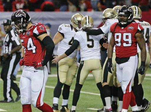 NFL Jerseys Official - Ryan throws late interception, Falcons fall to Saints 20-17