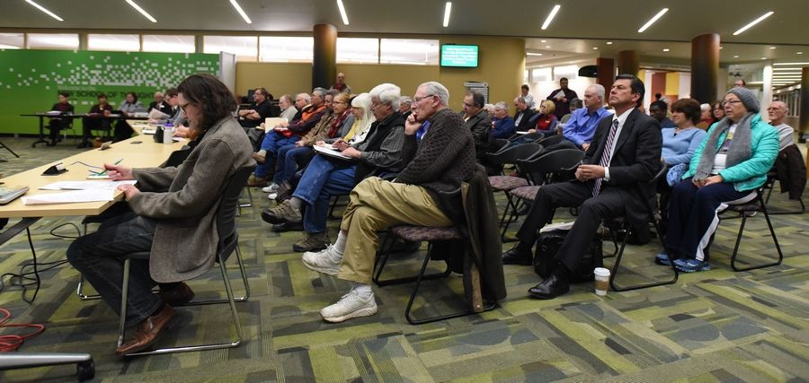 More than 75 people attended the 6:45 p.m. board of trustees special meeting Thursday at the College of DuPage.