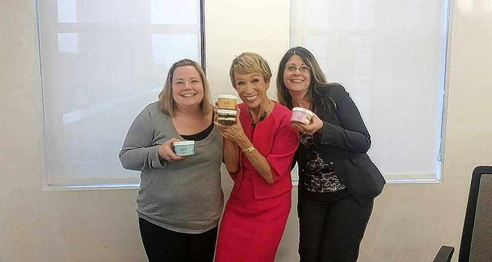 "Nina Carter, left, and Michelle Adams, at right, talk with ""Shark Tank"" co-star Barbara Corcoran on a recent trip to New York."