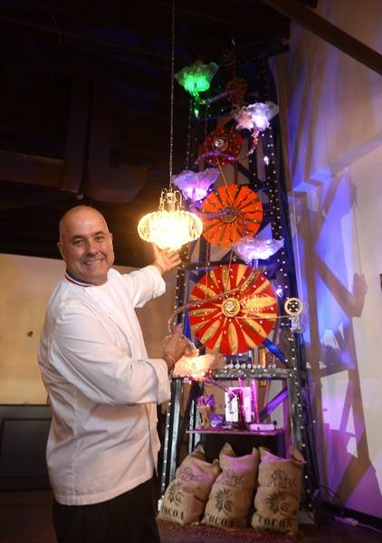 chef alain roby shown with his chocolate rig creation is expanding his - All Chocolate Kitchen