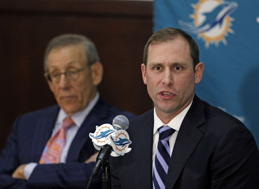 Miami Dolphins new head coach Adam Gase speaks during his introductory news conference Saturday in Davie, Fla. Gase was formerly the Chicago Bears' offensive coordinator.