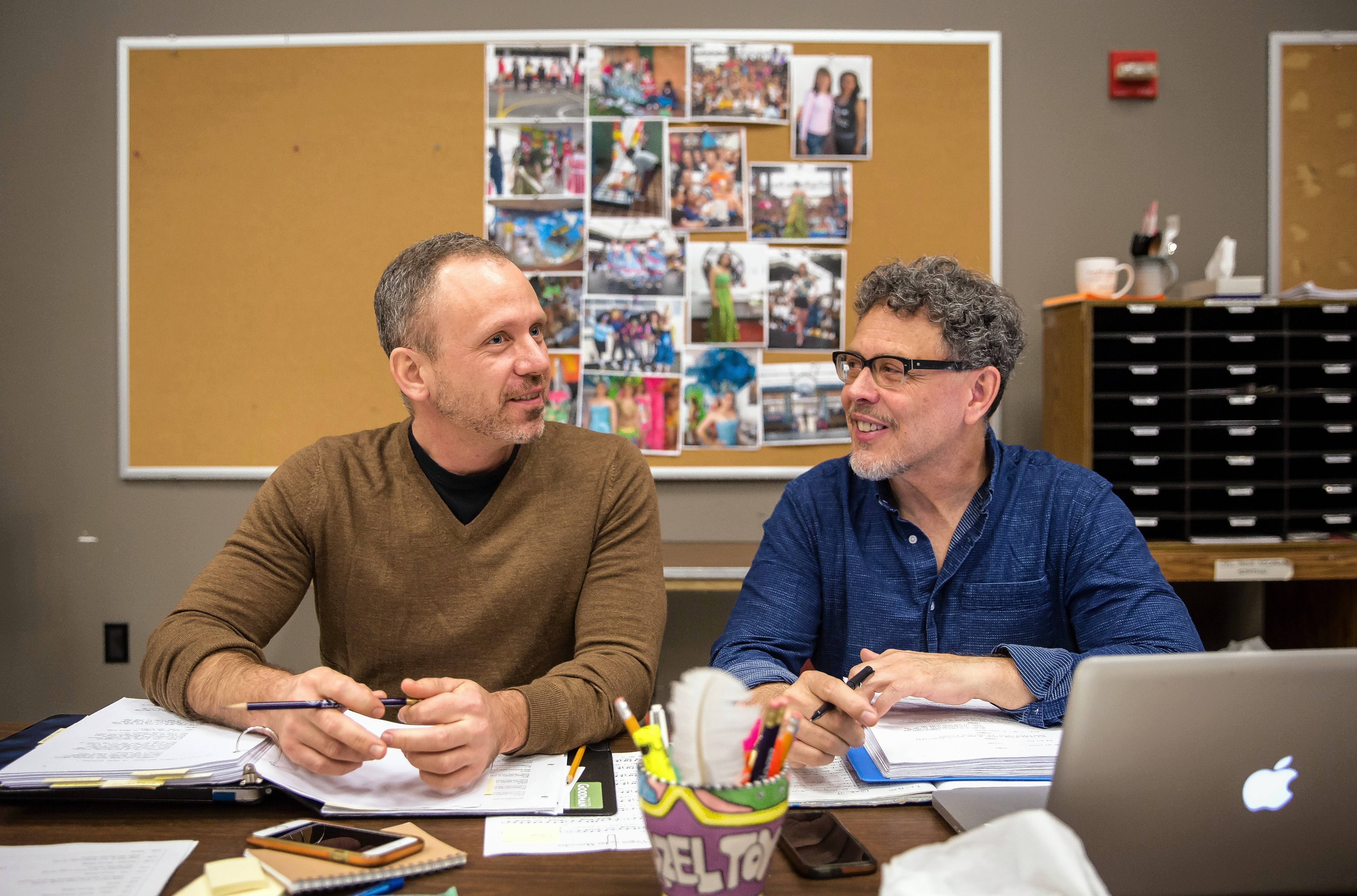 "Director Steve Cosson, left, and playwright Jose Rivera lead a rehearsal for Goodman Theatre's world premiere of the prison drama ""Another Word for Beauty."""