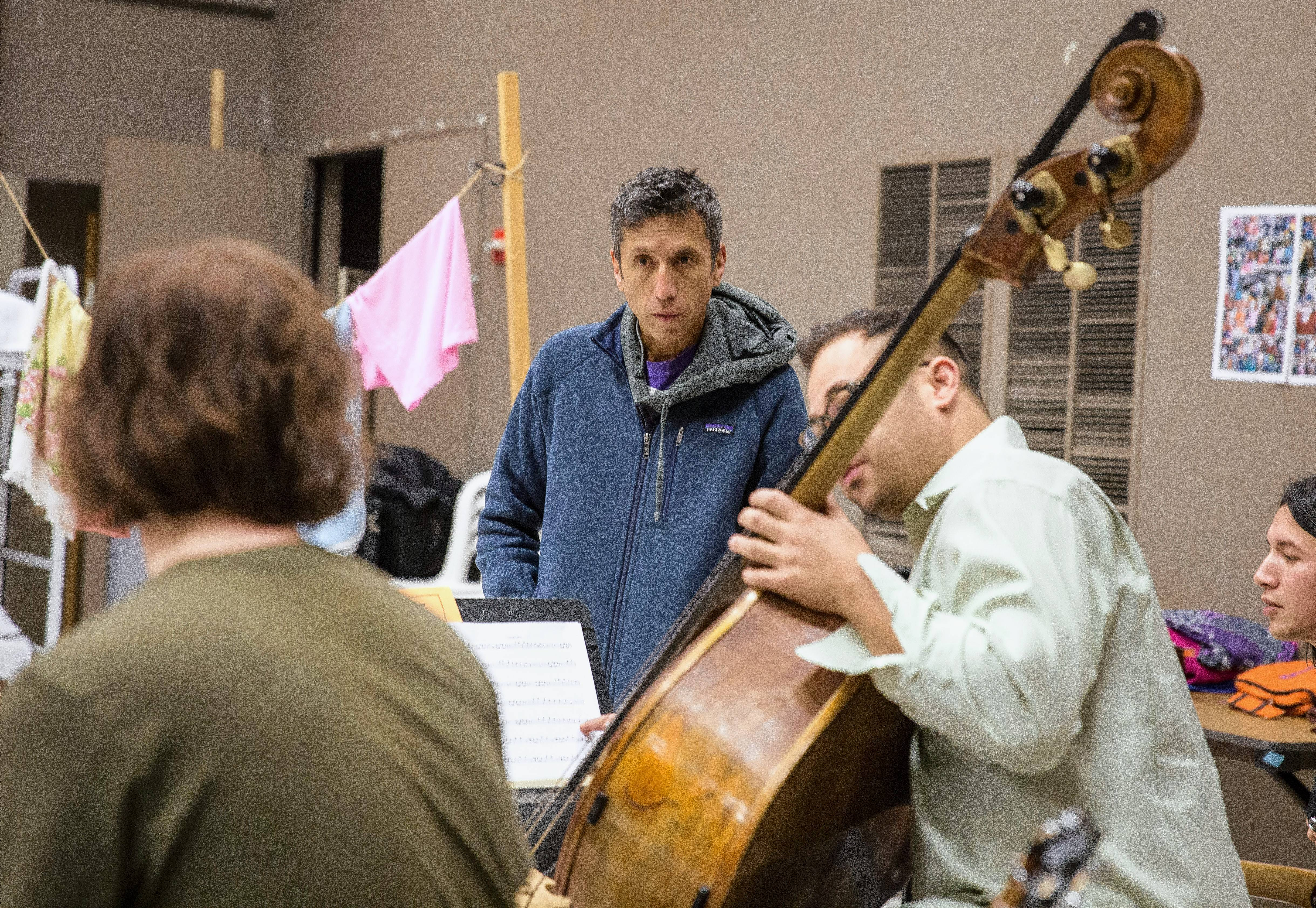 "Grammy Award-winning composer Hector Buitrago attends a rehearsal for ""Another Word for Beauty"" at Goodman Theatre."