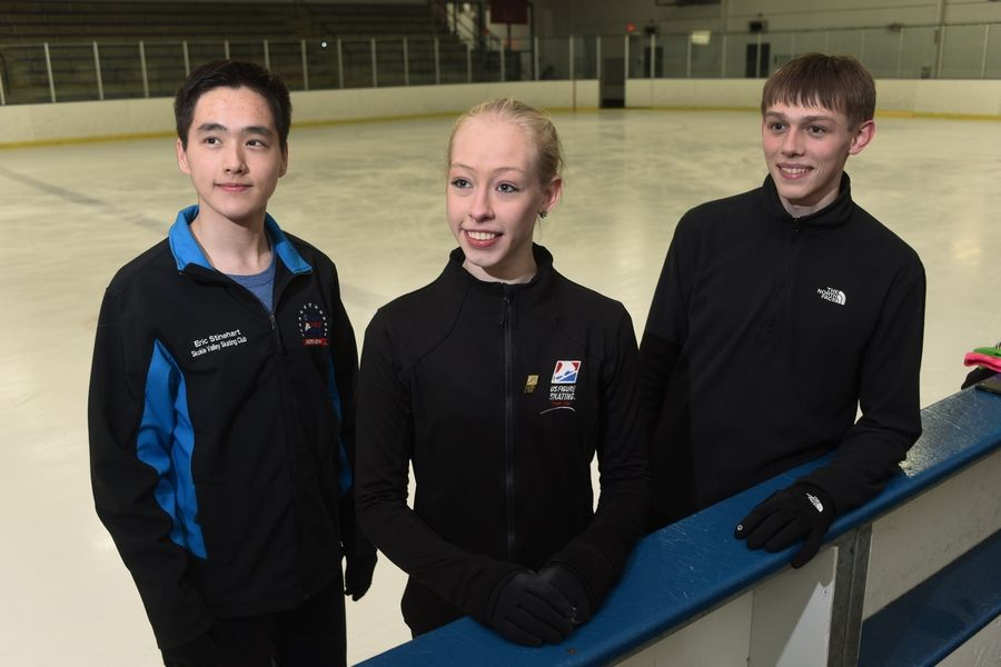 Left to right, ice skaters Eric Stinehart, Bradie Tennell and Derek Wagner, who practice at Twin Rinks Ice Arena in Buffalo Grove, will be competing next week in nationals.