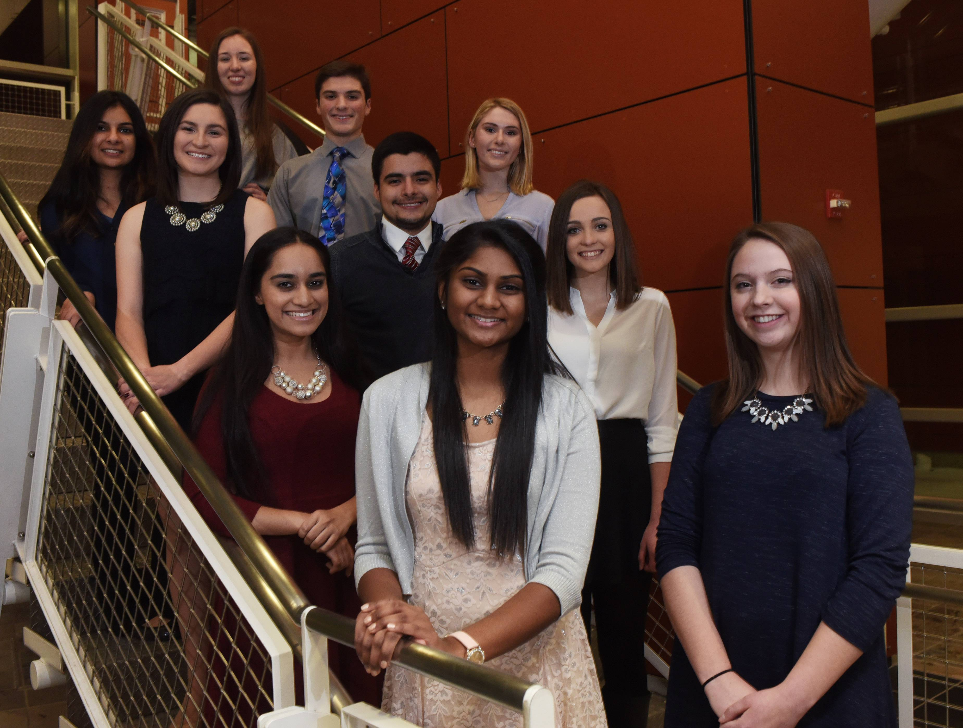 Members of the Northwest suburban Leadership Team gather at Harper College. At left, bottom to top are Ashley Prabakar, Hoffman Estates High School; Millen Srivastava, Barrington High School; Kristina Dominguez, Buffalo Grove High School and Aneri B. Patel, Maine East High School. At right, bottom to top; Natalie Brady, Rolling Meadows High School; Nicole Ricken, William Fremd High School; Christopher Nevarez, Barrington High School (in the middle); Karly Rose Grapenthin, Palatine High School; Justin Cruz, St. Viator High School and Julia Niklewicz, John Hersey High School.