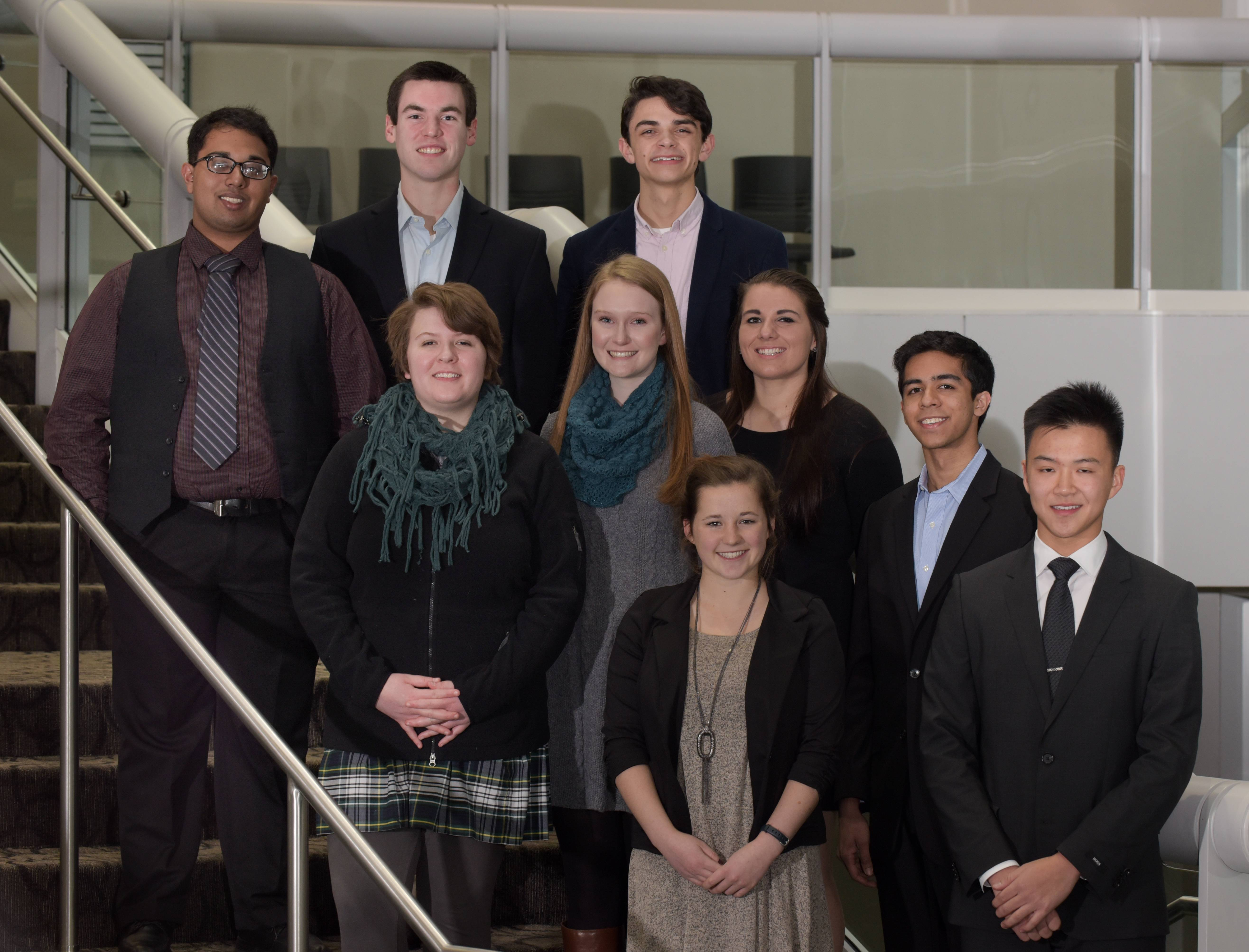 Winners of the 2015-16 DuPage County Leadership Team gather at College of DuPage. Top row, from left: Mohit Patel, Fenton High School; Michael King, Glenbard South High School; and William Marchese, Wheaton North High School. Middle row, from left: Nicole Popow, St. Francis High School; Claire Larkin, Glenbard East High School; Francesca Sikora, Montini Catholic High School and Tushar Dwivedi, Neuqua Valley High School. In front, Kyra Conroy, Naperville Central High School and David Kwok, Hinsdale Central High School. Not pictured: Alice Cecilia Reid, Benet Academy.