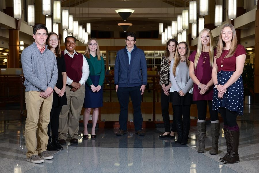 The 2015-16 Fox Valley Leadership Team gathers at Gail Borden Library in Elgin. From left, they are: Karl Rauschenberger of Elgin Academy; Molly McQueeny, Geneva Community High School; Cameron McCall, Huntley High School; Emily Laughead, Rosary High School; Bryan Jeffery Giannone, Harry D. Jacobs High School; Allison Holloway, Larkin High School; Lucy Gruber, St. Charles North High School; Sydney Cavanaugh, Batavia High School and Elnora Burzlaff, Harvest Christian Academy. Not pictured: Jyotsna Bitra of Illinois Math and Science Academy.