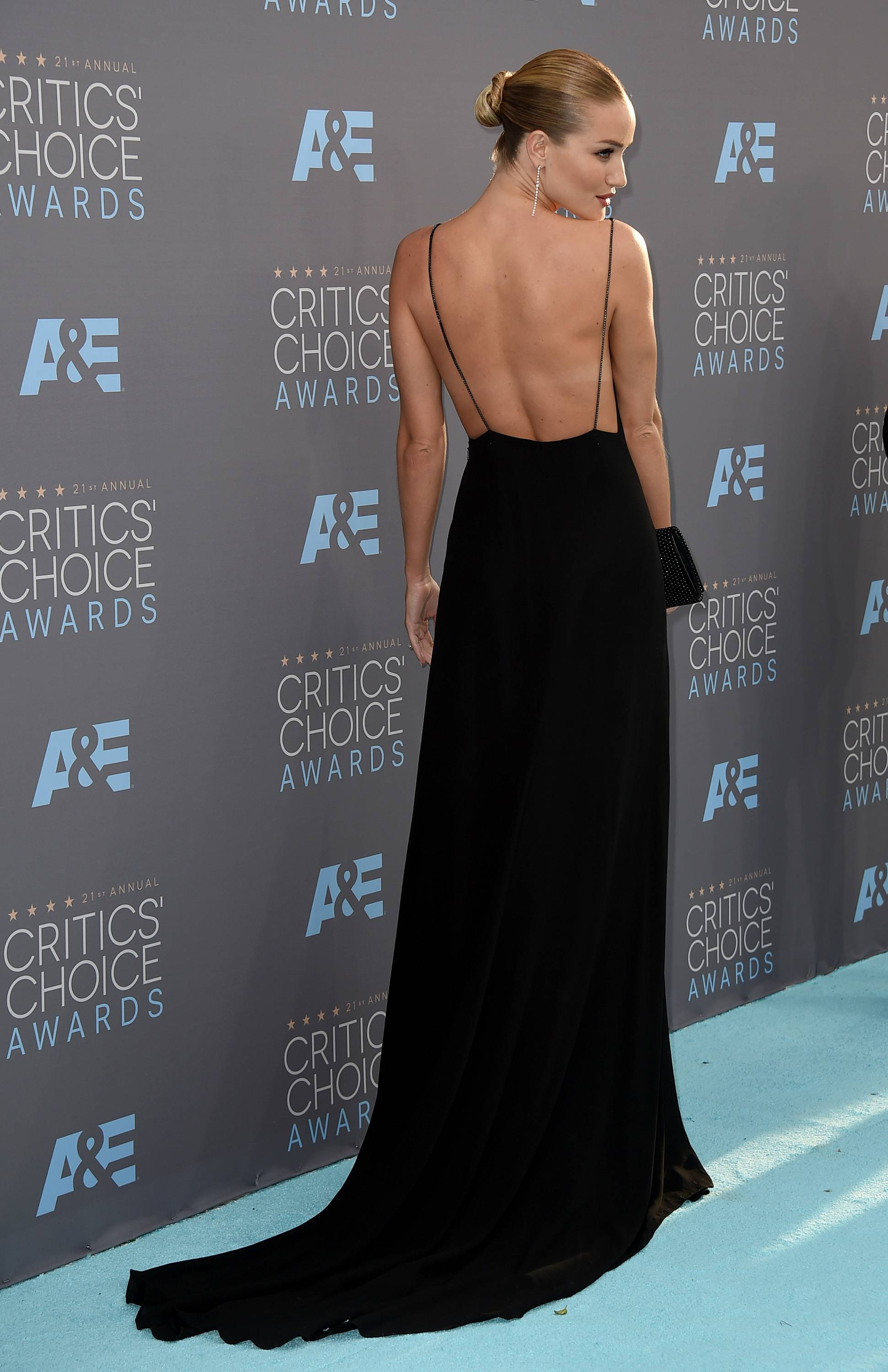 Rosie Huntington-Whiteley arrives at the 21st annual Critics' Choice Awards at the Barker Hangar on Sunday in Santa Monica, Calif.