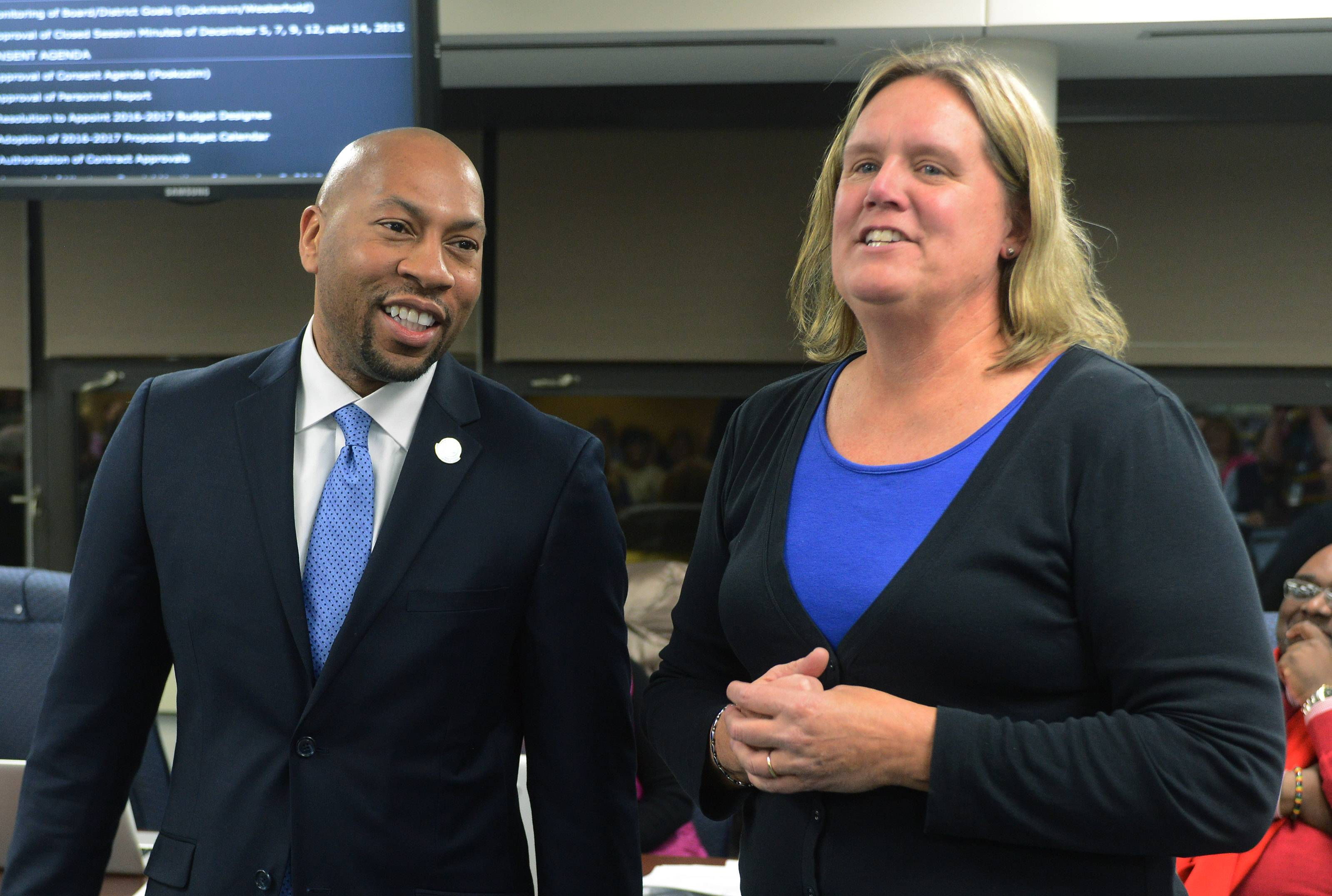 Des Plaines Elementary School District 62 Board President Stephanie Duckmann introduces Floyd Williams Jr. as the district's next superintendent Tuesday night. He will take over for retiring Superintendent Jane Westerhold on July 1.