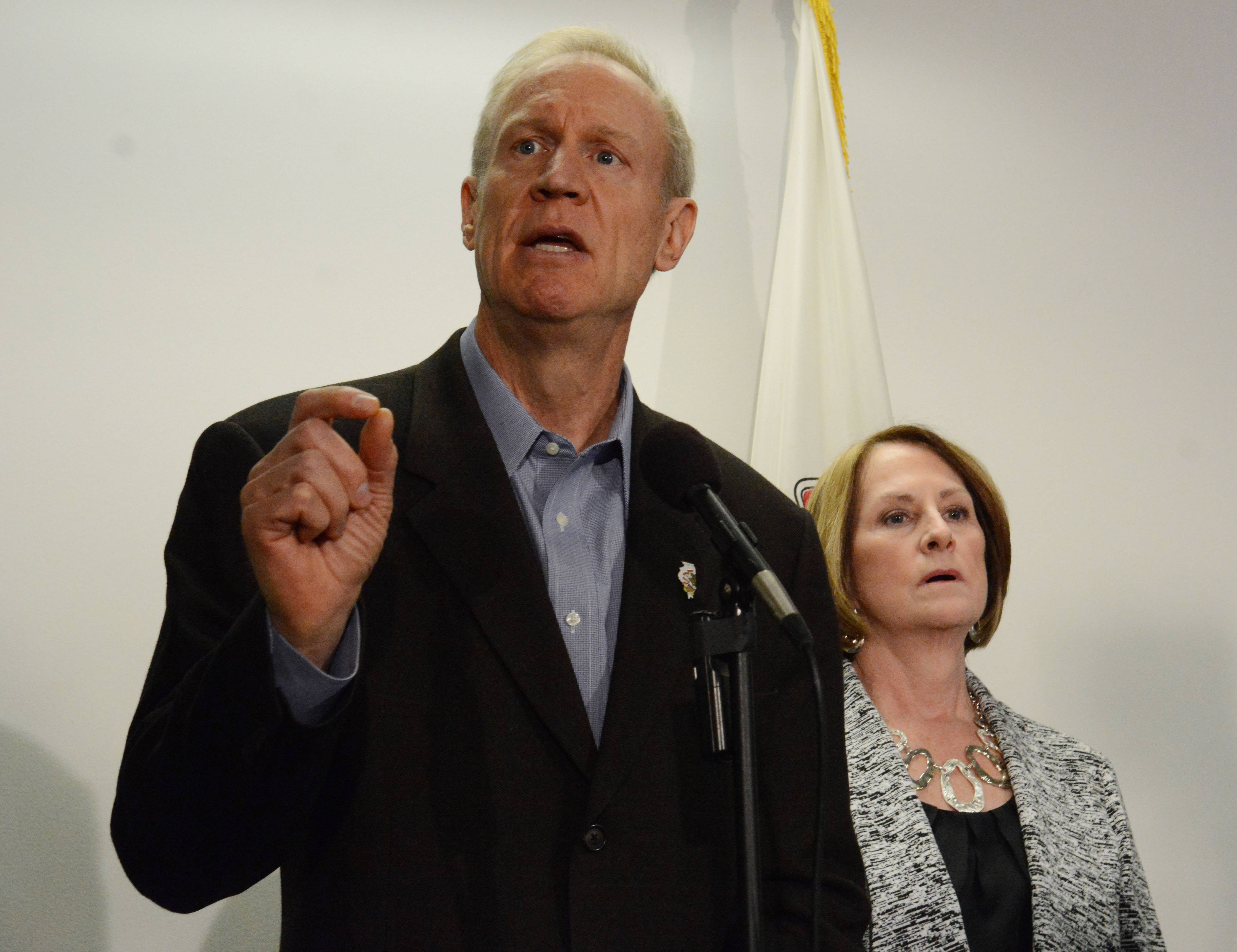 Gov. Bruce Rauner Thursday speaks in favor of a pension proposal giving public workers a choice of reduced benefits.