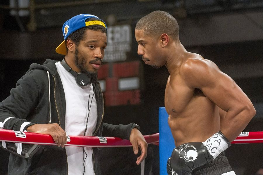 "Writer/director Ryan Coogler and star Michael B. Jordan talk on the set of the acclaimed drama ""Creed,"" which earned only one Oscar nomination: Sylvester Stallone for supporting actor."