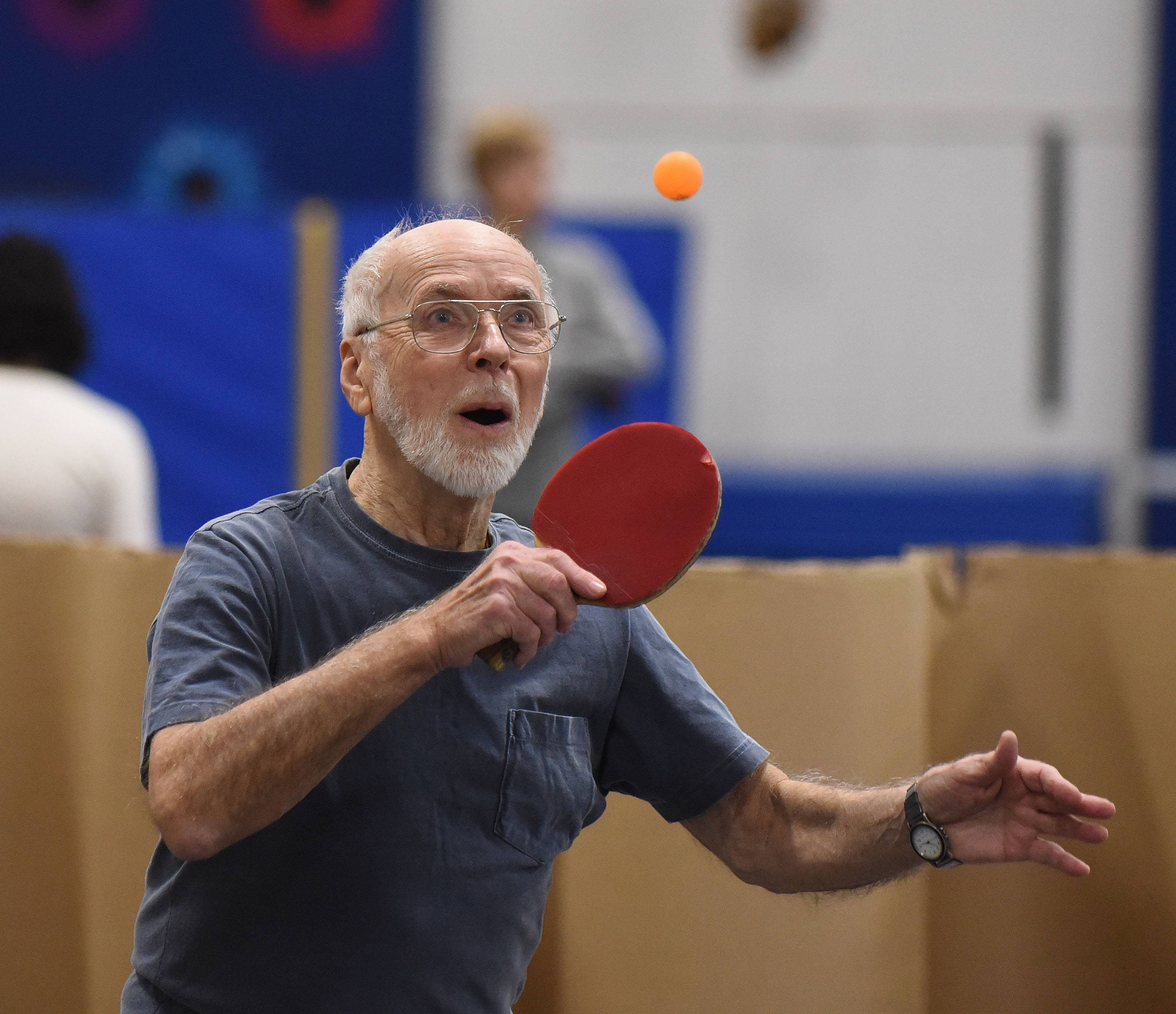Gene Bender of Wheaton took part in Naperville's annual Table Tennis Tournament Saturday. The event was co-sponsored by Naperville Park District and the Naperville Table Tennis Club and has been going on for almost 30 years.