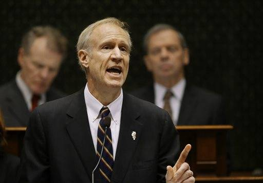 Illinois Gov. Bruce Rauner delivers his State of the State address to a joint session of the General Assembly in the House chambers at the State Capitol on Wednesday, Jan. 27, 2016, in Springfield, Ill.