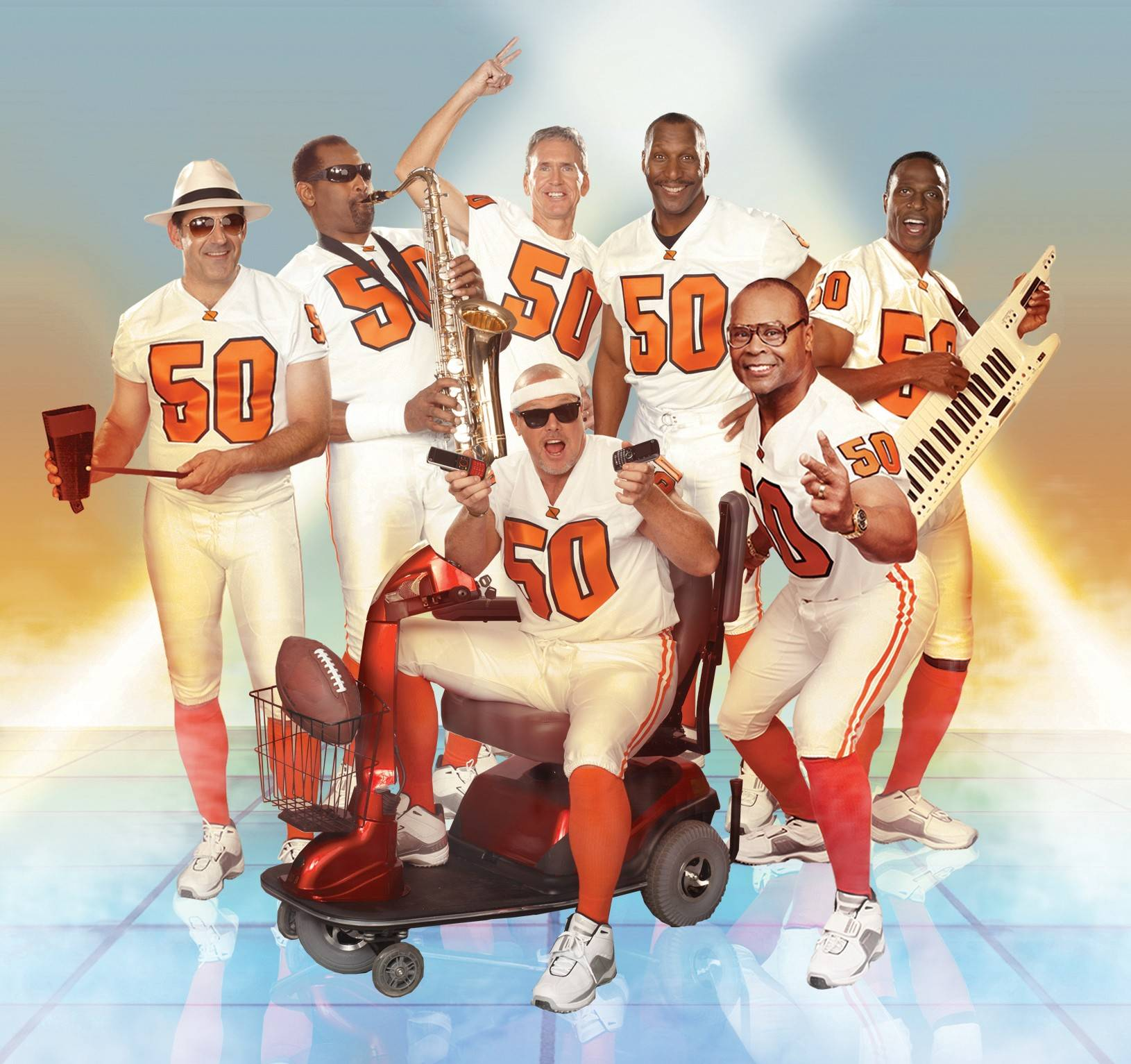 "Former members of 1985 Bears gather in 2010 to do a parody of their ""Super Bowl Shuffle"" in a Boost Mobile phone commercial."