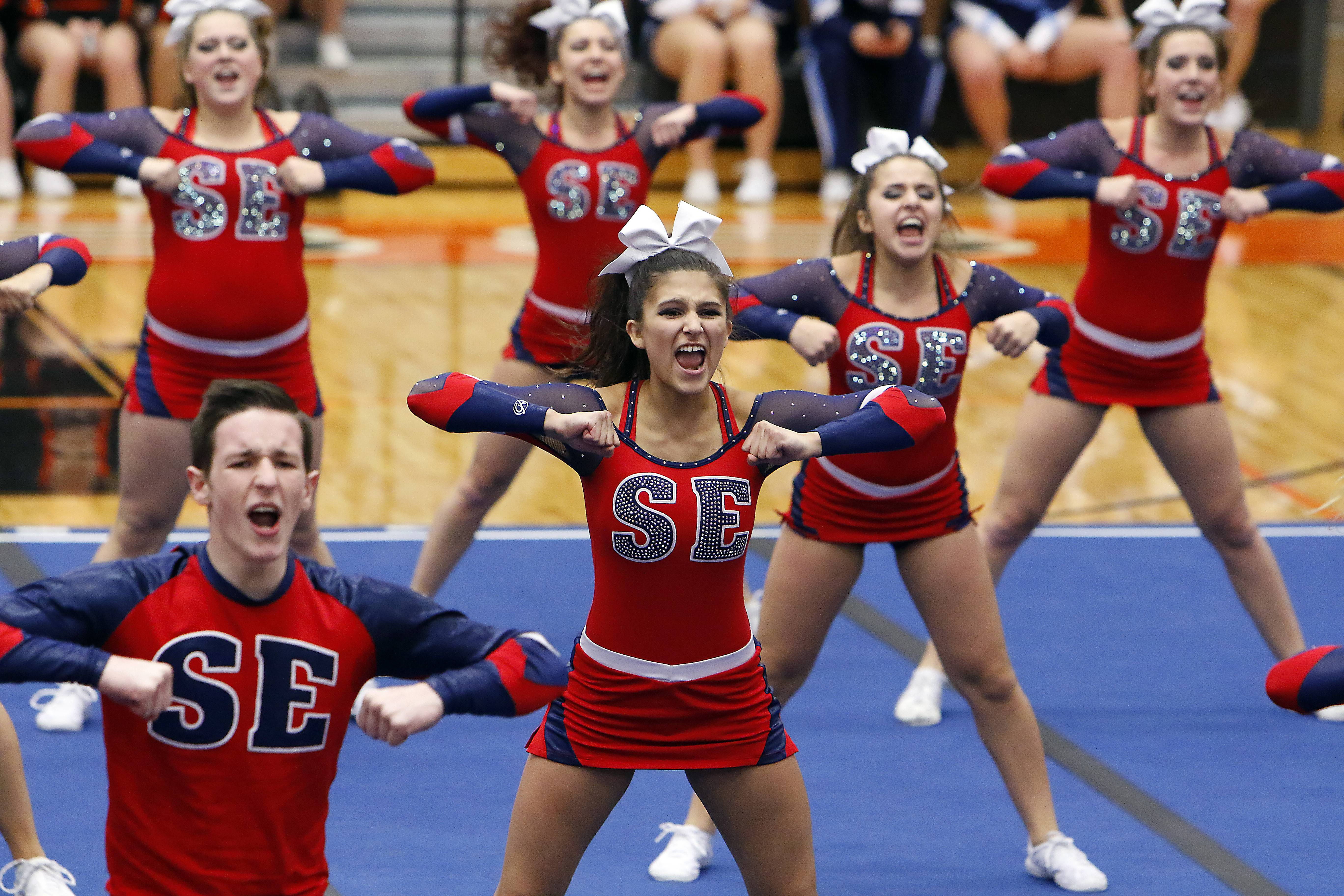 Brian Hill/bhill@dailyherald.comSouth Elgin competes Saturday during the IHSA sectional cheerleading competition in DeKalb.