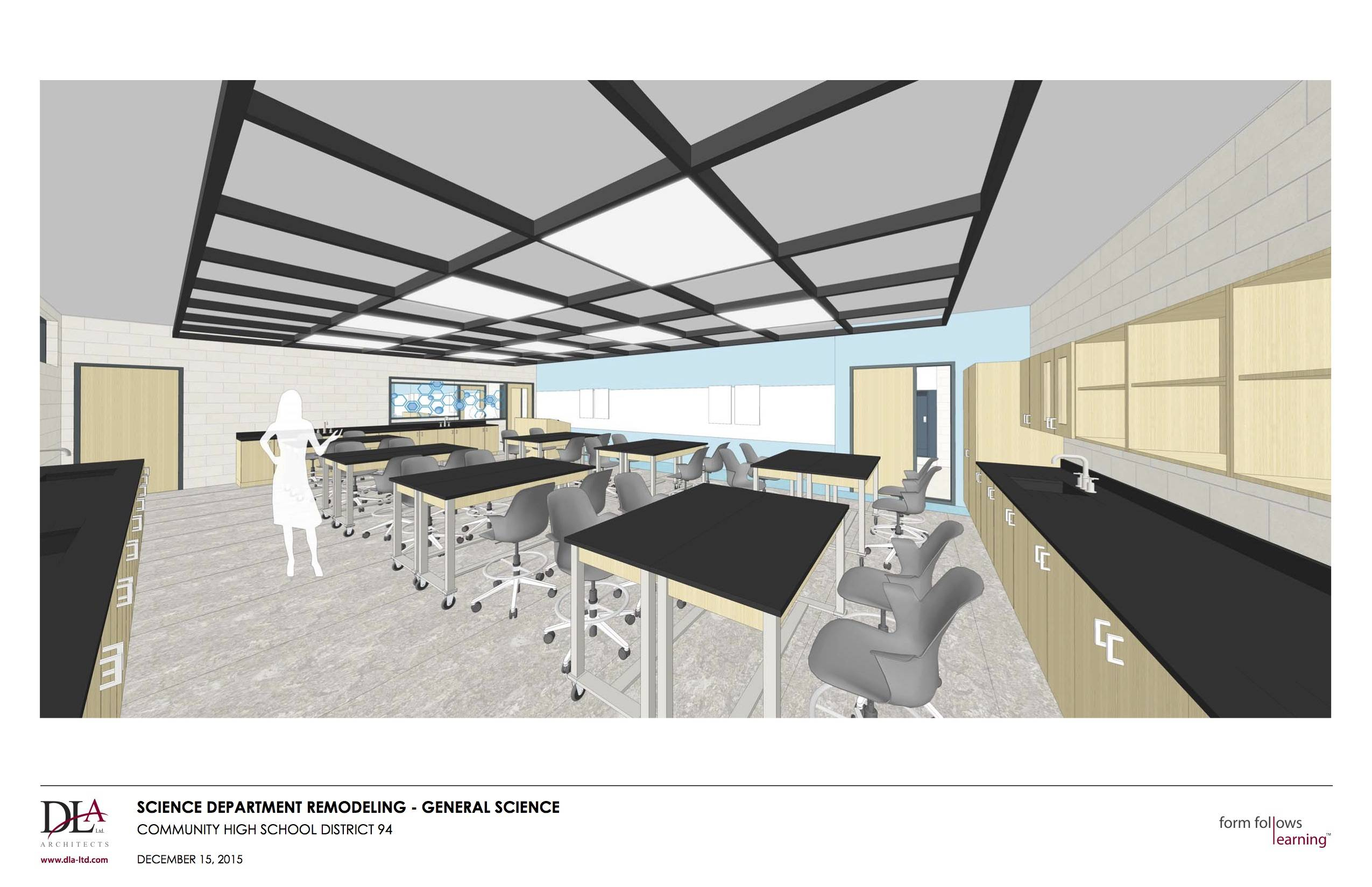 A $5 million renovation will make science classrooms at West Chicago High School more flexible, with tables and chairs that are easy to move and rearrange.