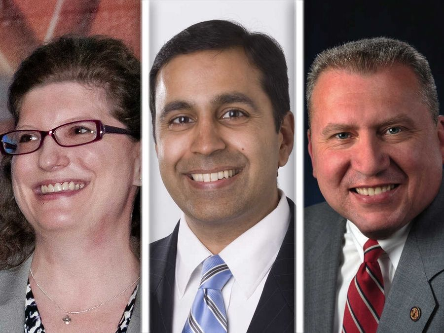 From left, Deborah Bullwinkel, Raja Krishnamoorthi and Mike Noland are Democratic candidates in the 8th Congressional District.