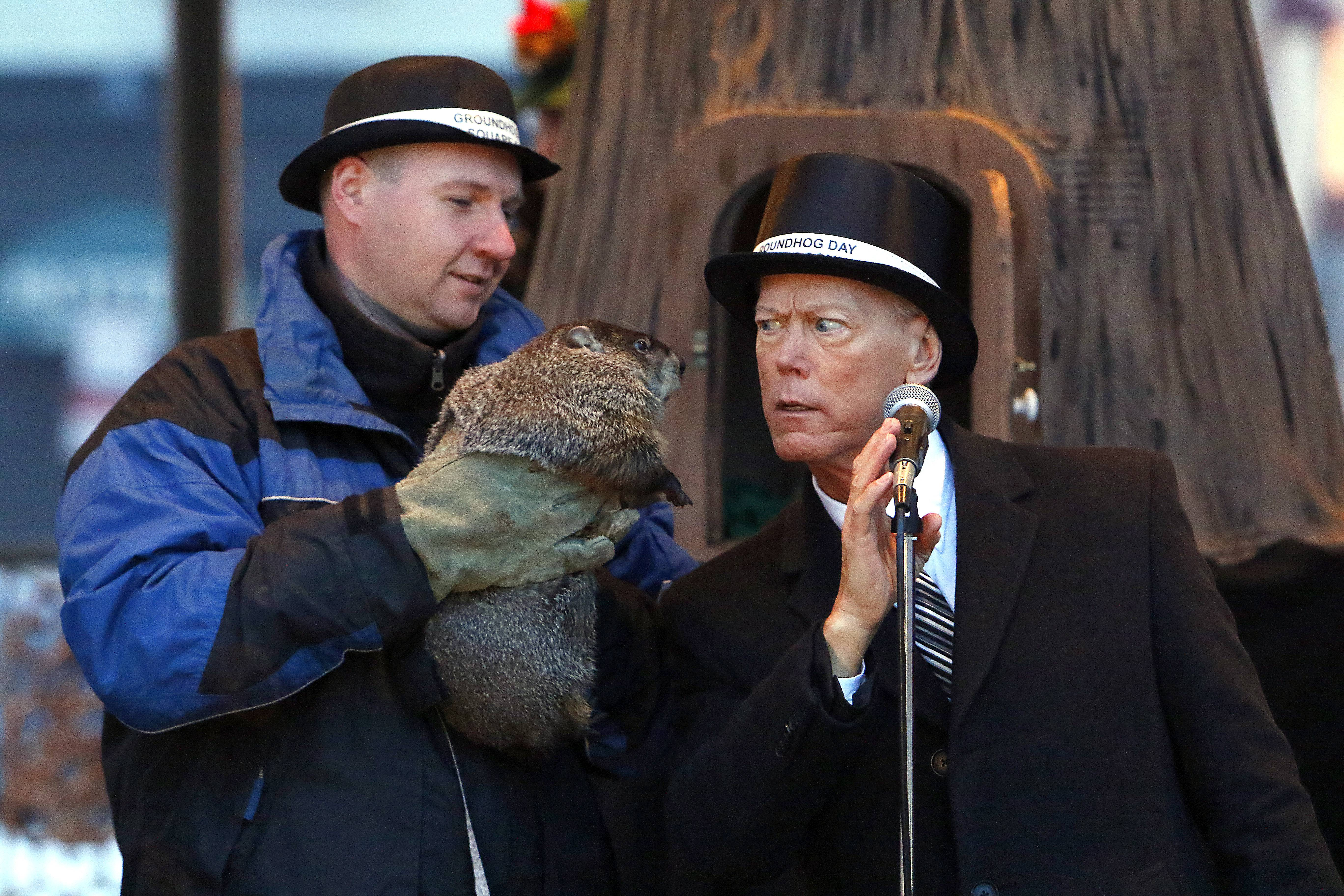 Woodstock Mayor Brian Sager, right, listens intently as he gets the word from Woodstock Willy that he did not see his shadow Tuesday during the annual Groundhog Day groundhog prognostication in historic Woodstock Square. Willy is being held by Mark Szafran of Animal Rentals in Chicago.