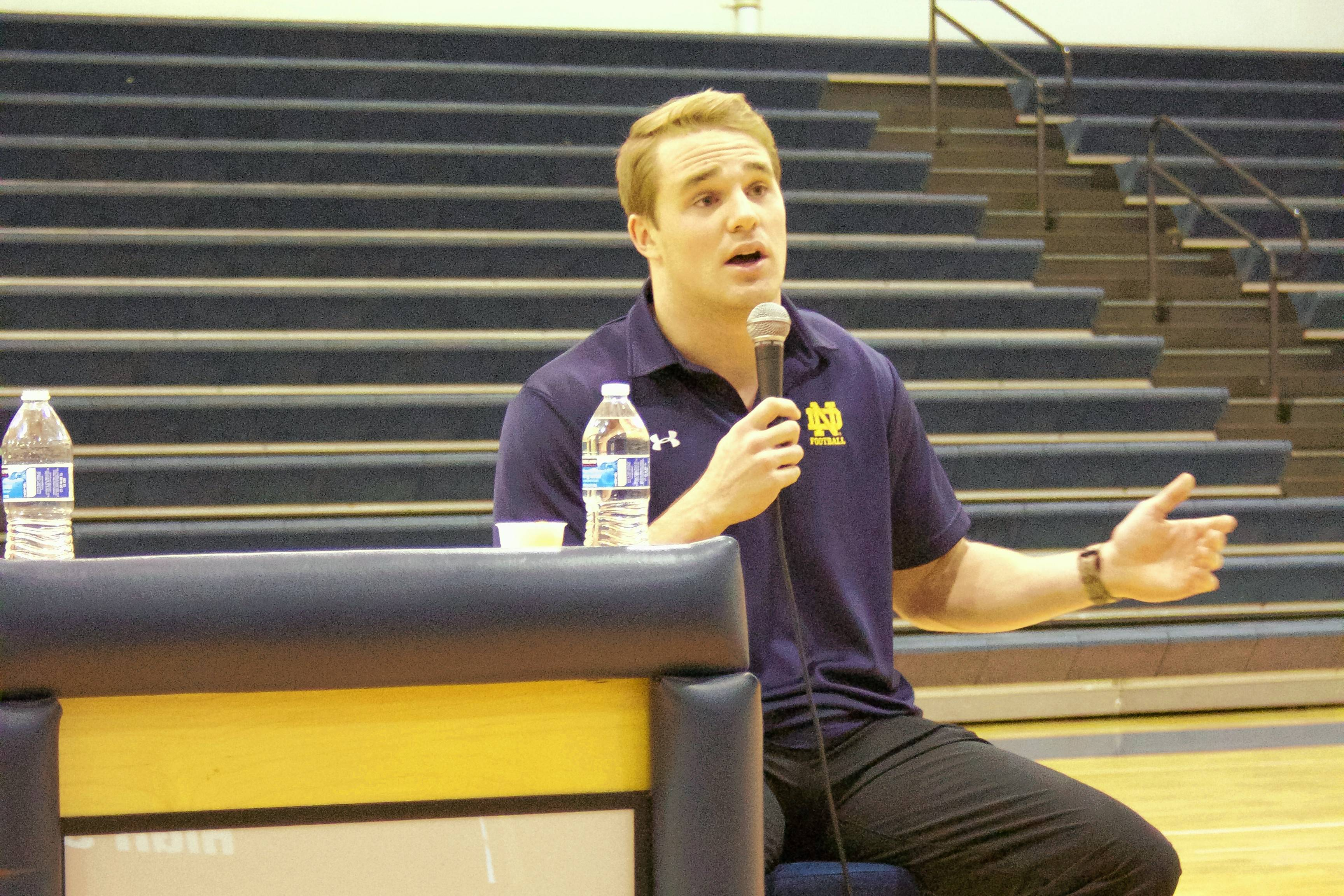 Notre Dame linebacker and co-captain, Joe Schmidt, came to St. Viator last month to address interested students about how his penchant for writing down goals and hard work helped him go from being a walk-on to starter and captain.