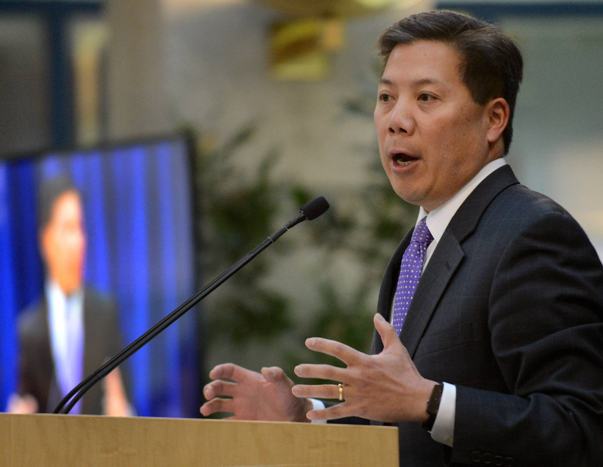 U.S. Deputy Secretary of Labor Chris Lu helps launch a new partnership Tuesday between Schaumburg-based Zurich America and Harper College in Palatine.