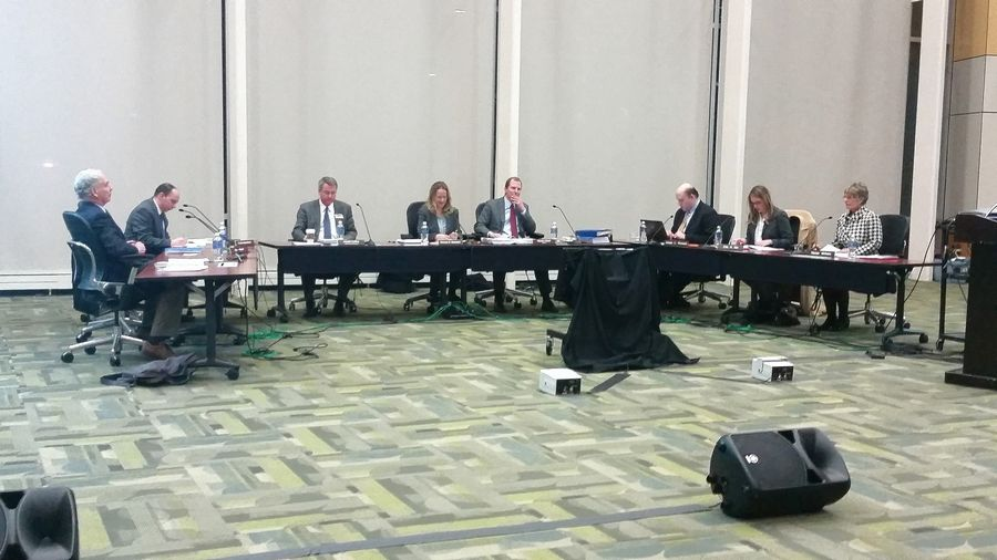 All six College of DuPage trustees, plus two attorneys, attend the 7 p.m. board meeting Wednesday in Glen Ellyn.