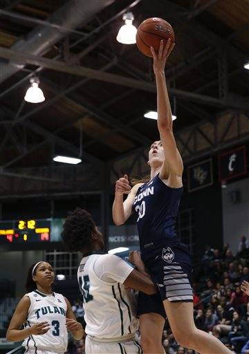 cf01138a7270 Connecticut forward Breanna Stewart (30) goes to the basket over Tulane  center Chinwe Duru