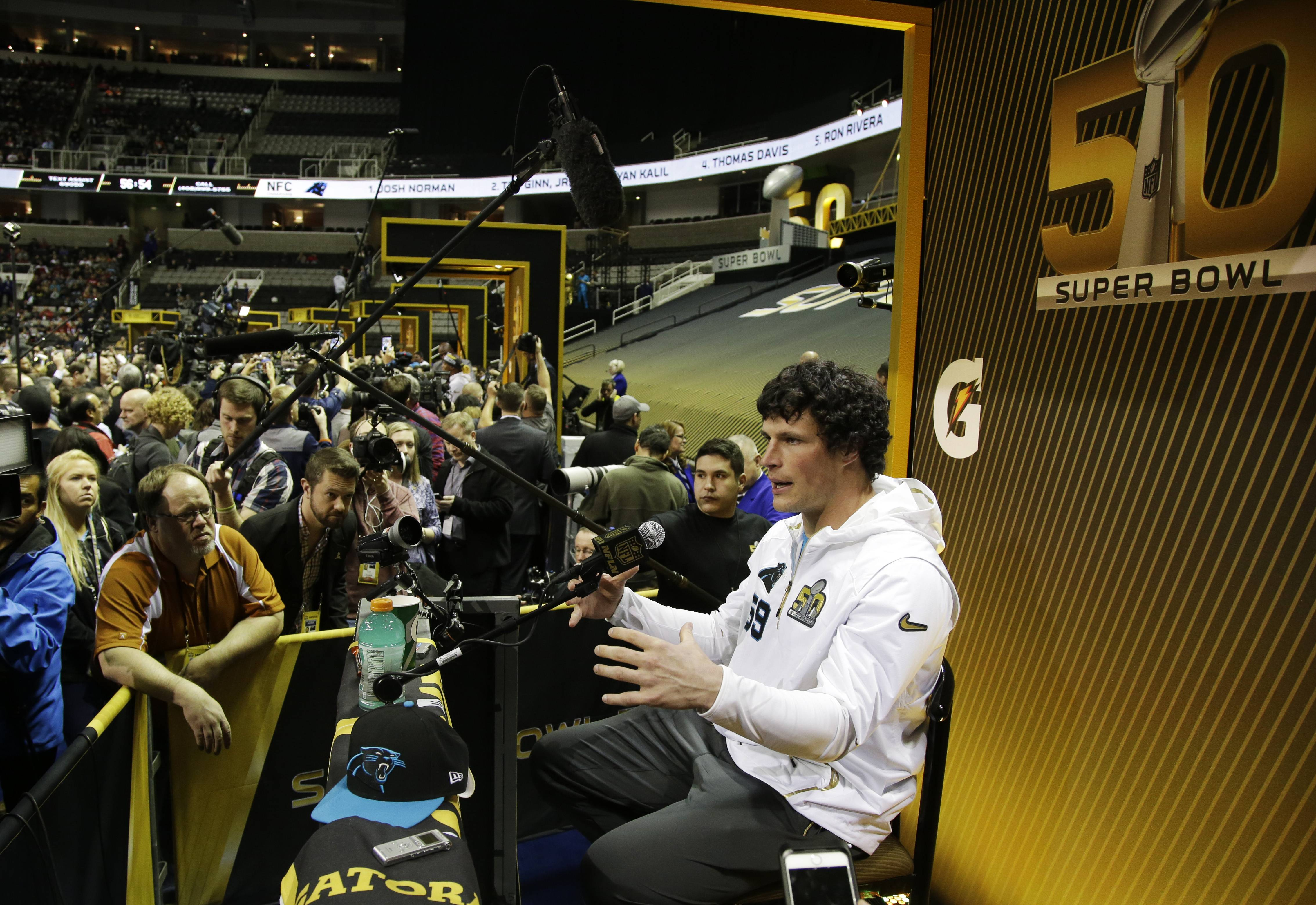 Carolina Panthers middle linebacker Luke Kuechly speaks to reporters during Opening Night for the NFL Super Bowl 50 football game Monday, Feb. 1, 2016, in San Jose, Calif. Kuechly will present a huge challenge for Denver Broncos quarterback Peyton Manning in Sunday's game.