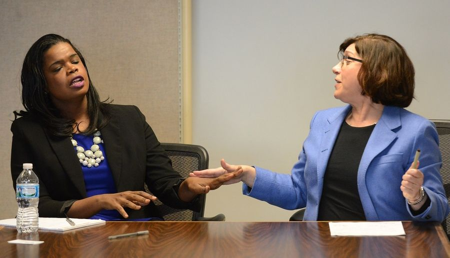 Cook County state's attorney candidates Kim Foxx, left, and Donna Moore meet with the Daily Herald editorial board.