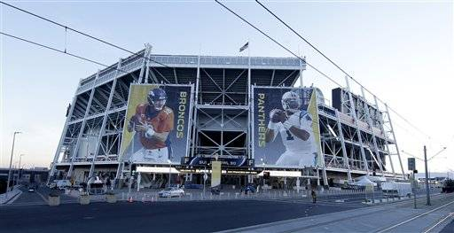 Banners for the Denver Broncos and Carolina Panthers hang outside Levi's Stadium in advance of Sunday's NFL Super Bowl 50 football game Friday, Feb. 5, 2016, in Santa Clara, Calif. (AP Photo/Charlie Riedel)