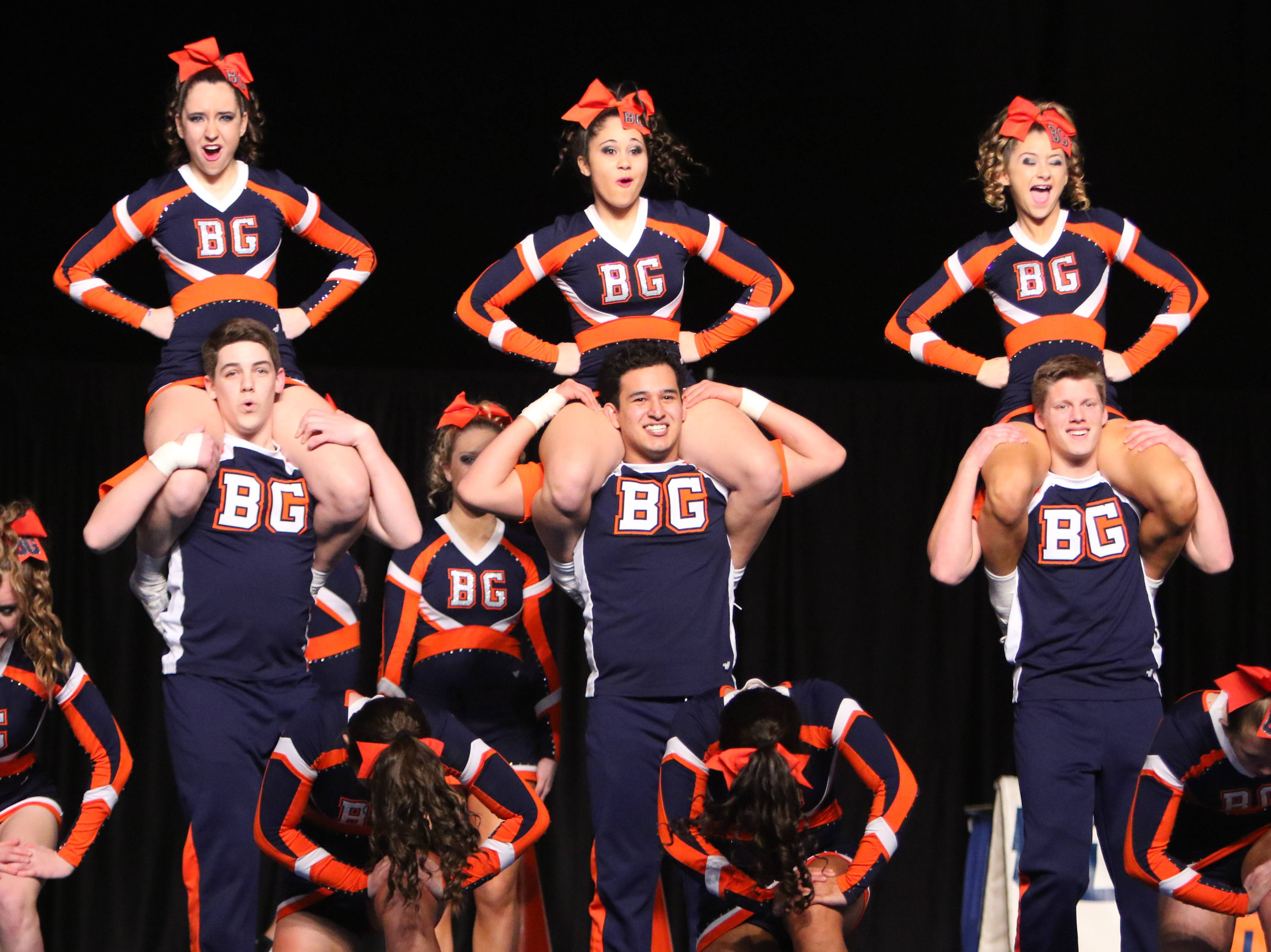 Buffalo Grove High School, the defending coed champs, compete in the state cheerleading finals Saturday in Bloomington.