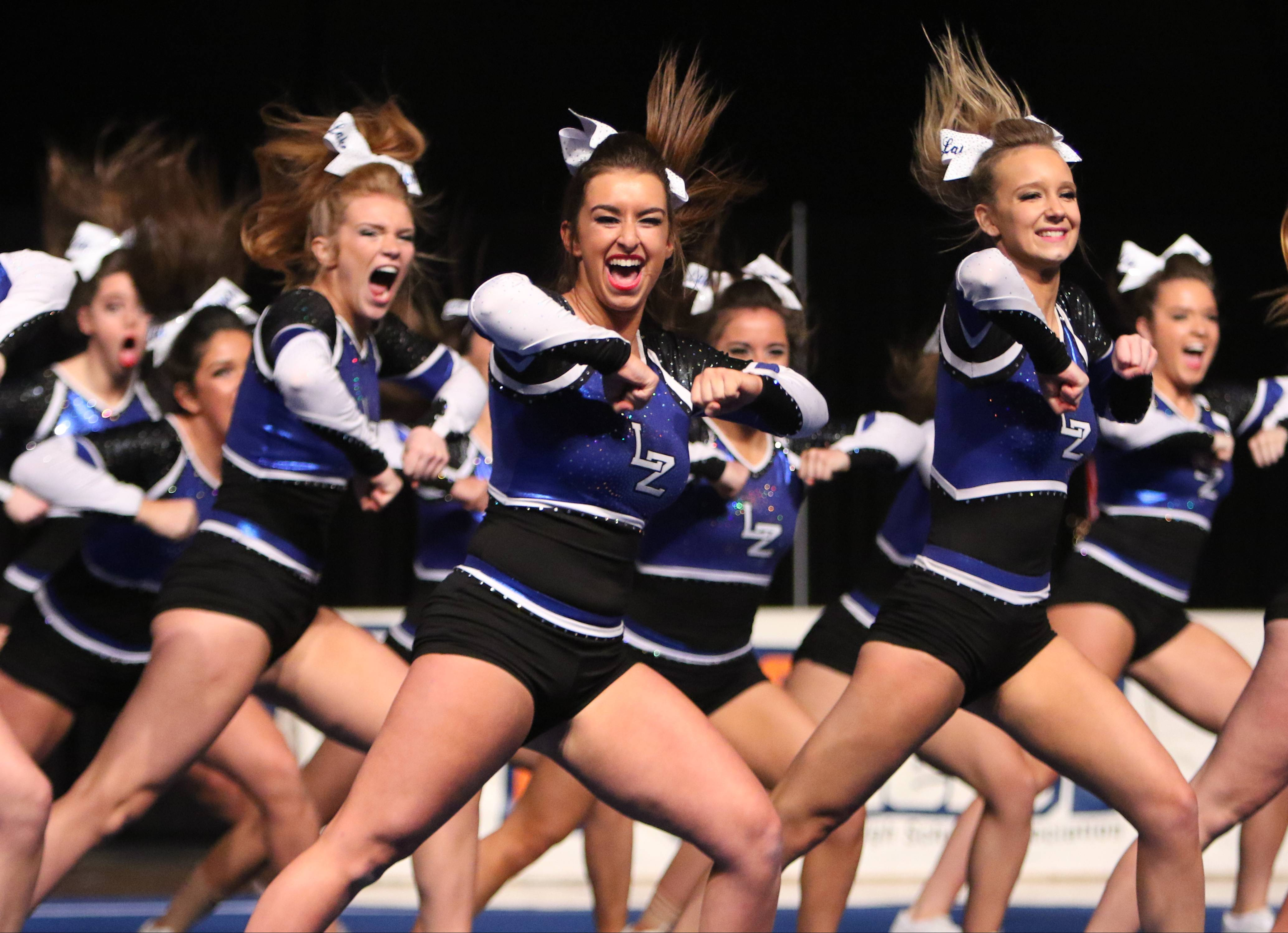 Lake Zurich High School competes in the state cheerleading finals Saturday in Bloomington.