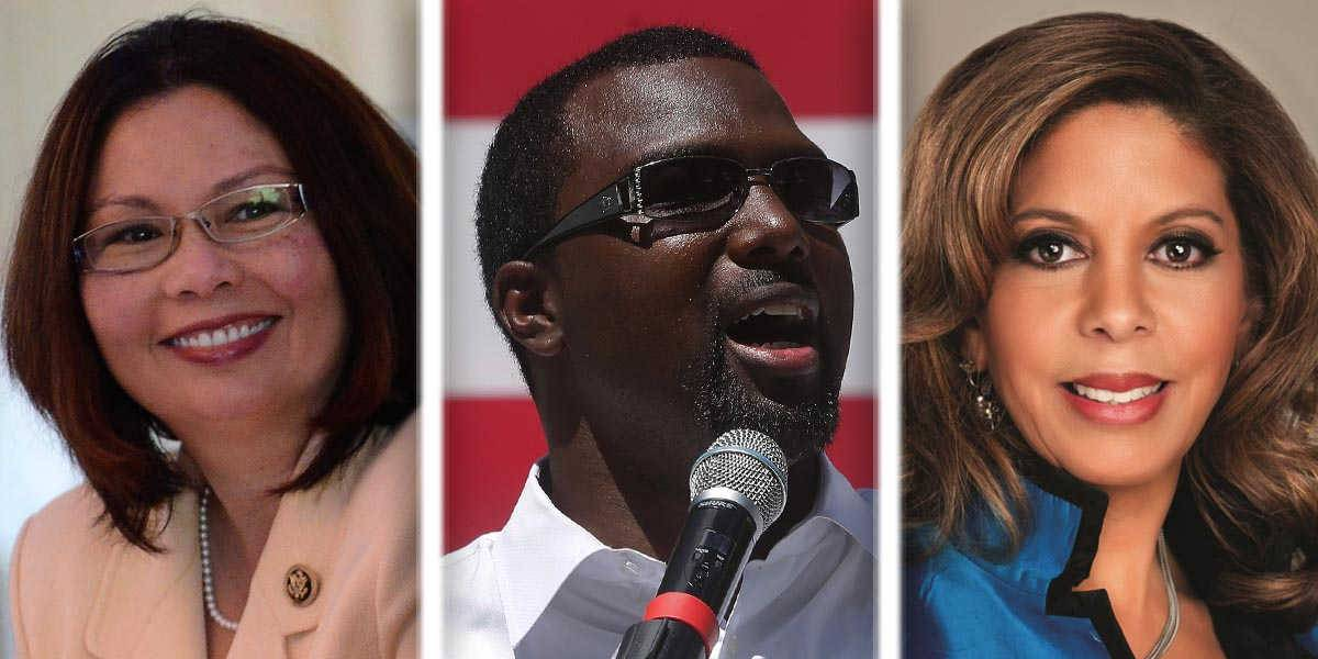 From left, Tammy Duckworth, Napoleon Harris and Andrea Zopp are competing in the Democratic primary for U.S. Senate.