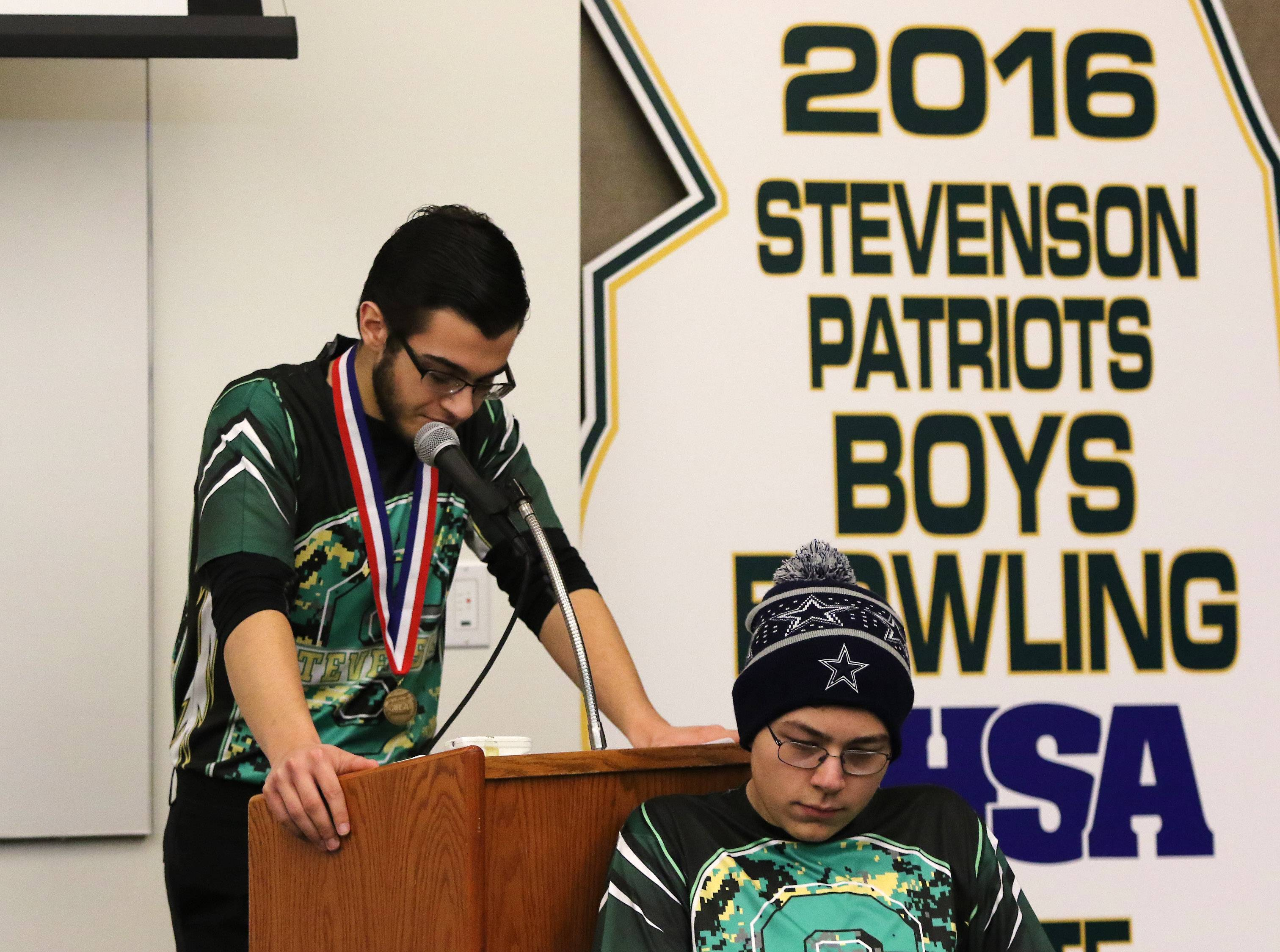 Stevenson High School bowling team captain Theodore Tapas talks about winning the state championship Monday during a celebration at the Lincolnshire school. The team set state records in points, and Zach Singer came in first and Richy Zenner finished second in individual bowling, which was a first for the state championship tournament.
