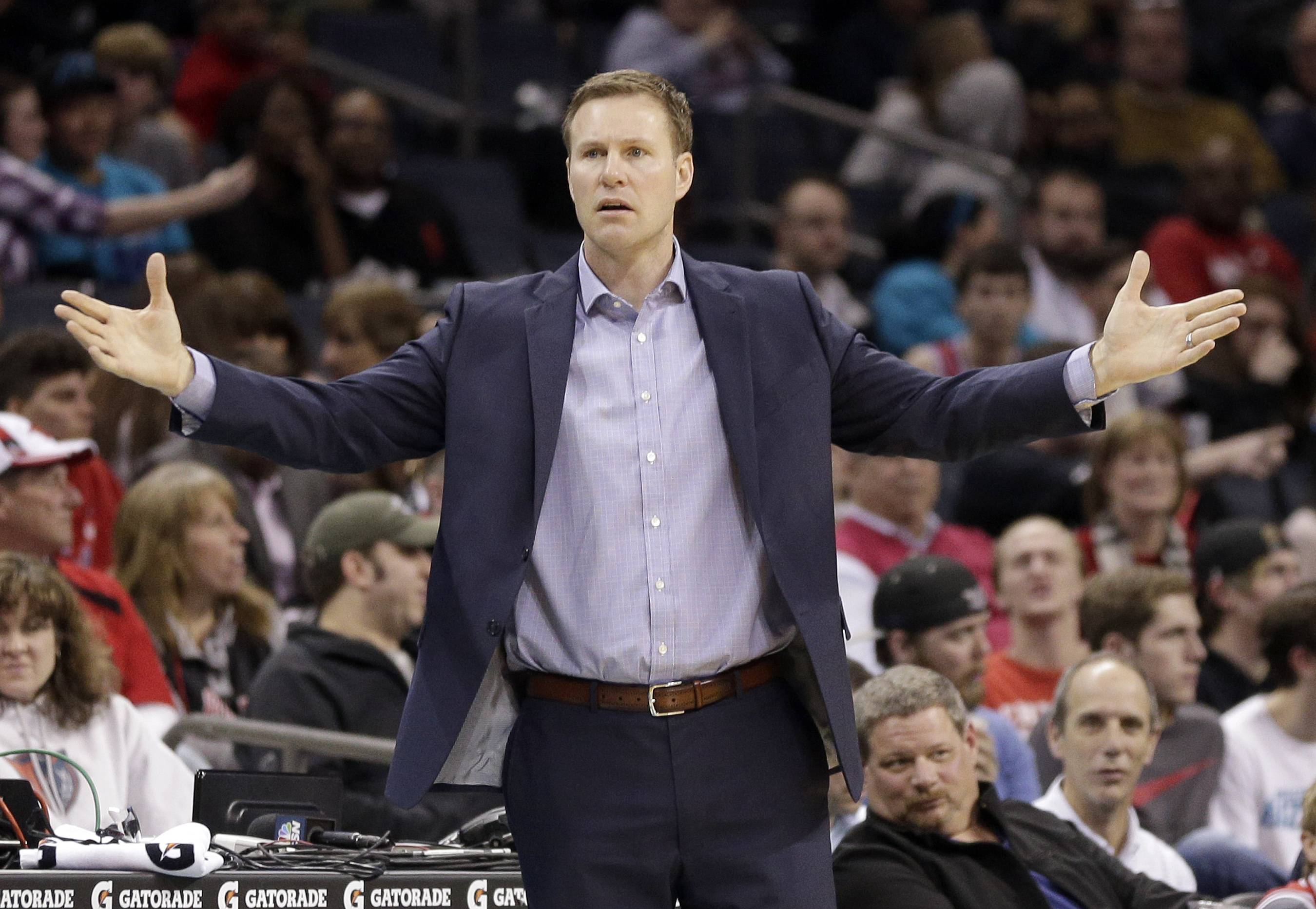 Chicago Bulls head coach Fred Hoiberg reacts to a call in the second half of an NBA basketball game against the Charlotte Hornets in Charlotte, N.C., Monday, Feb. 8, 2016. The Hornets won 108-91. (AP Photo/Chuck Burton)