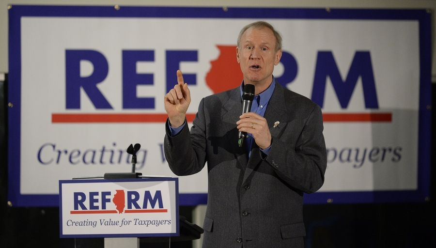 Gov. Bruce Rauner says Illinois should just aim to be average when it comes to job and economic growth. The governor attended a town-hall meeting Monday at Wheeling's IcarTeam facility.