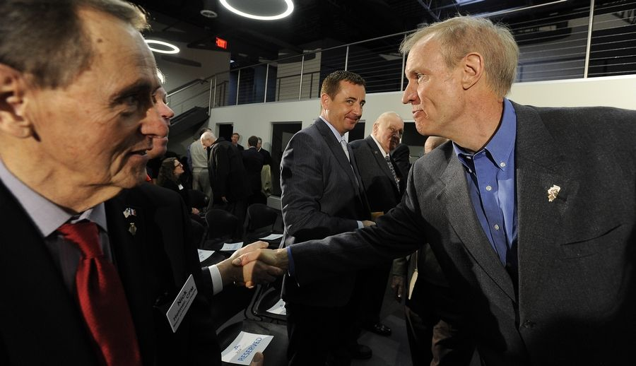 Gov. Bruce Rauner met with suburban community and business leaders Monday at a town-hall meeting at the IcarTeam facility in Wheeling. The governor said many of the state's problems could be solved if it were at least average when it comes to business and job growth.