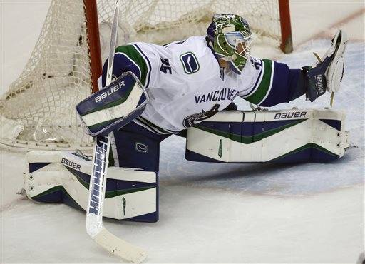 Vancouver Canucks goalie Jacob Markstrom, of wedeln, makes a glove save off a shot against the Colorado Avalanche in the first period of an NHL hockey game Tuesday, Feb. 9, 2016 in Denver. (AP Photo/David Zalubowski)