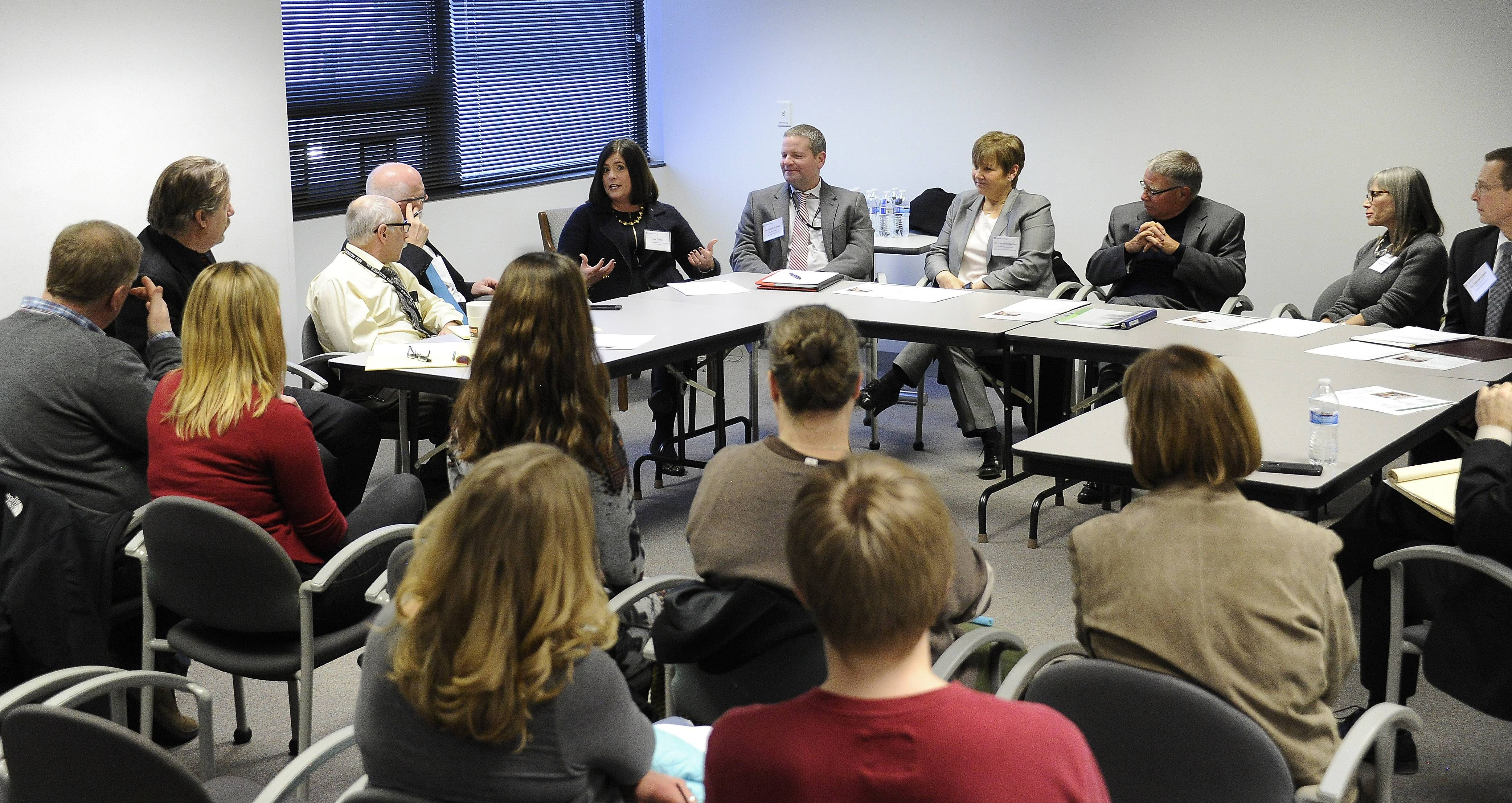 Harper College officials, school superintendents, donors, parents and students met with the Daily Herald editorial board this week to discuss the progress of Harper's Promise Scholarship program.