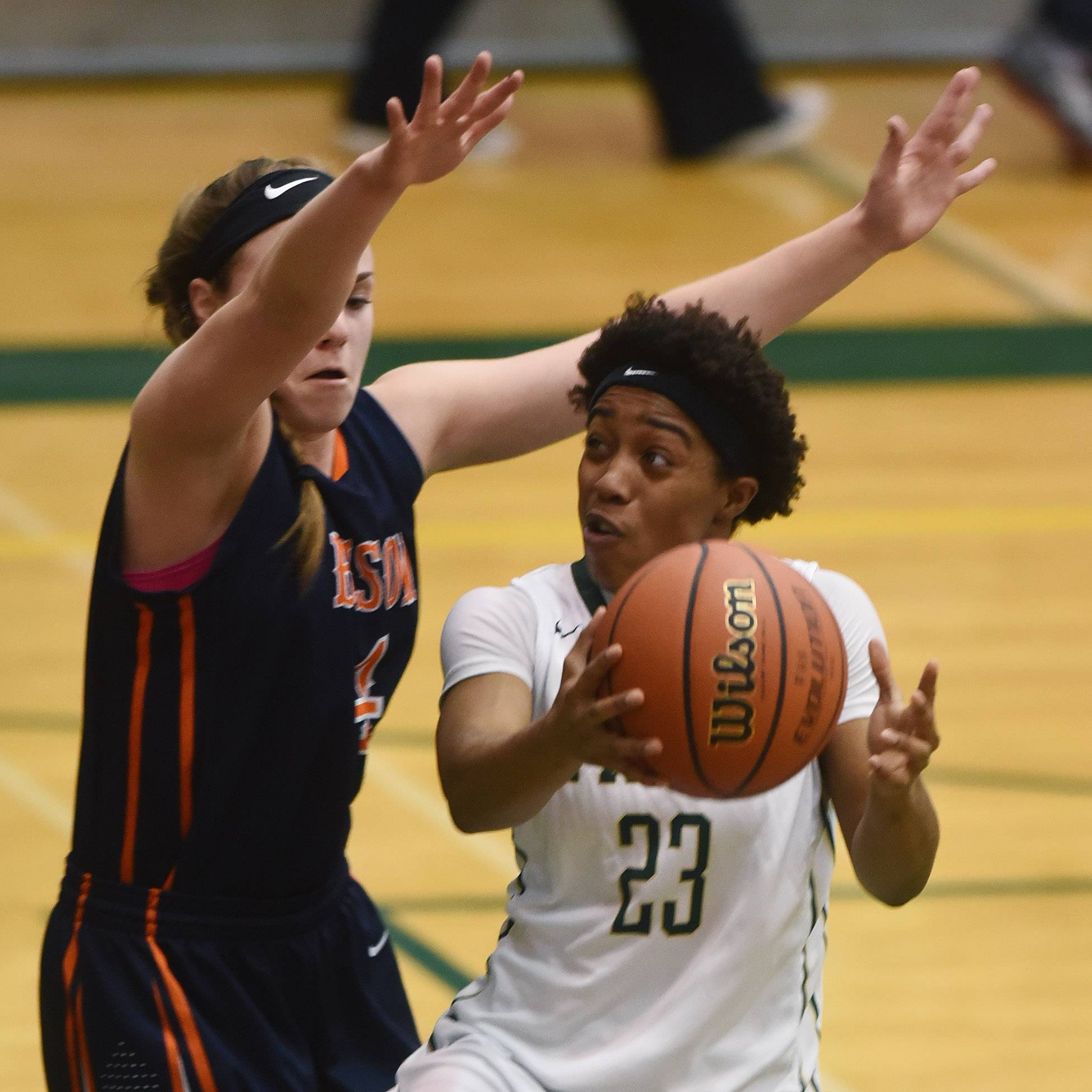 Fremd's Brianna Lewis drives for a layup against Buffalo Grove's Georgette Topalis during the Mid-Suburban League championship game in Palatine Wednesday.