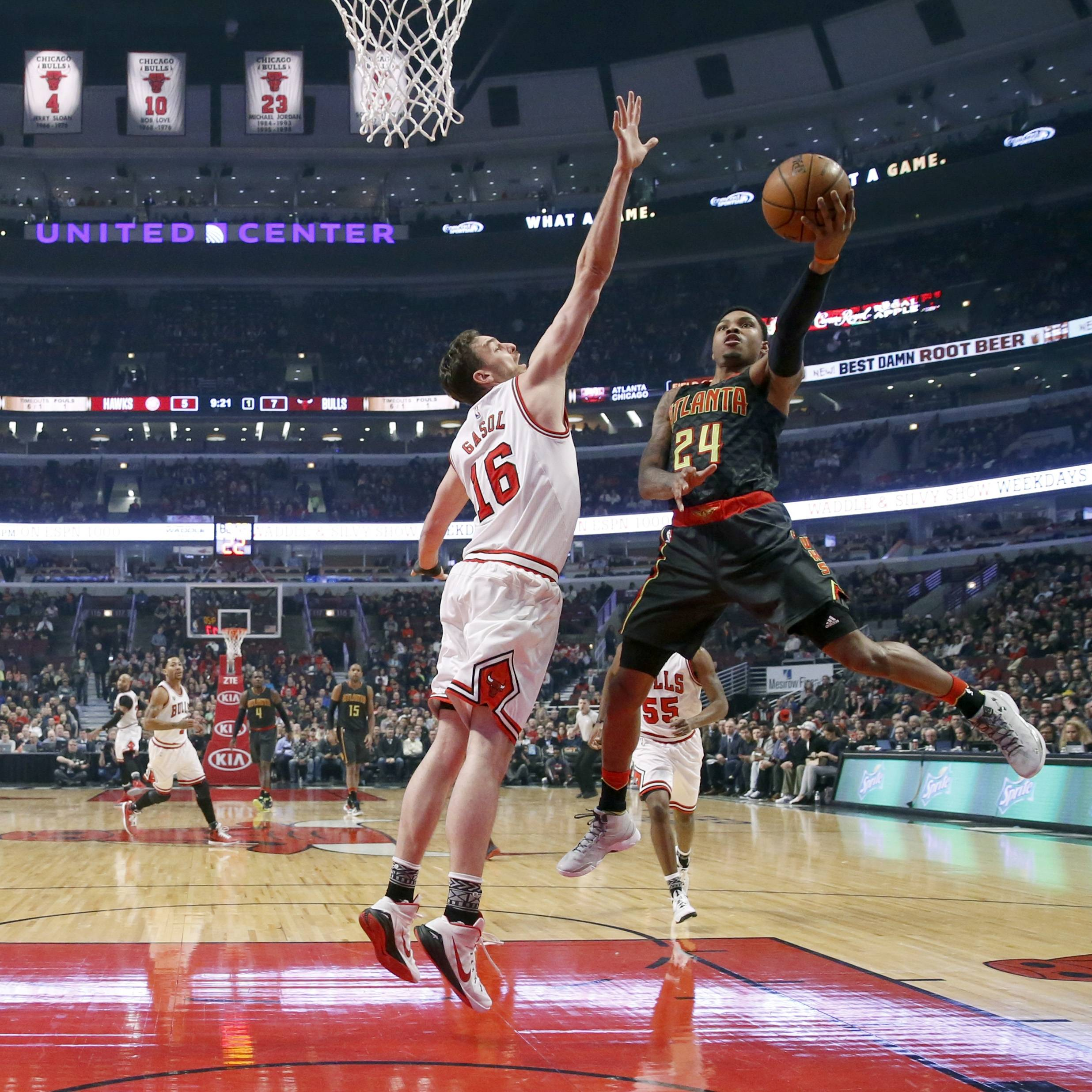 Chicago Bulls center Pau Gasol, going up to defend Atlanta Hawks forward Kent Bazemore on Wednesday night, said he is proud and honored to be going to the NBA All-Star Game as teammate Jimmy Butler's replacement.
